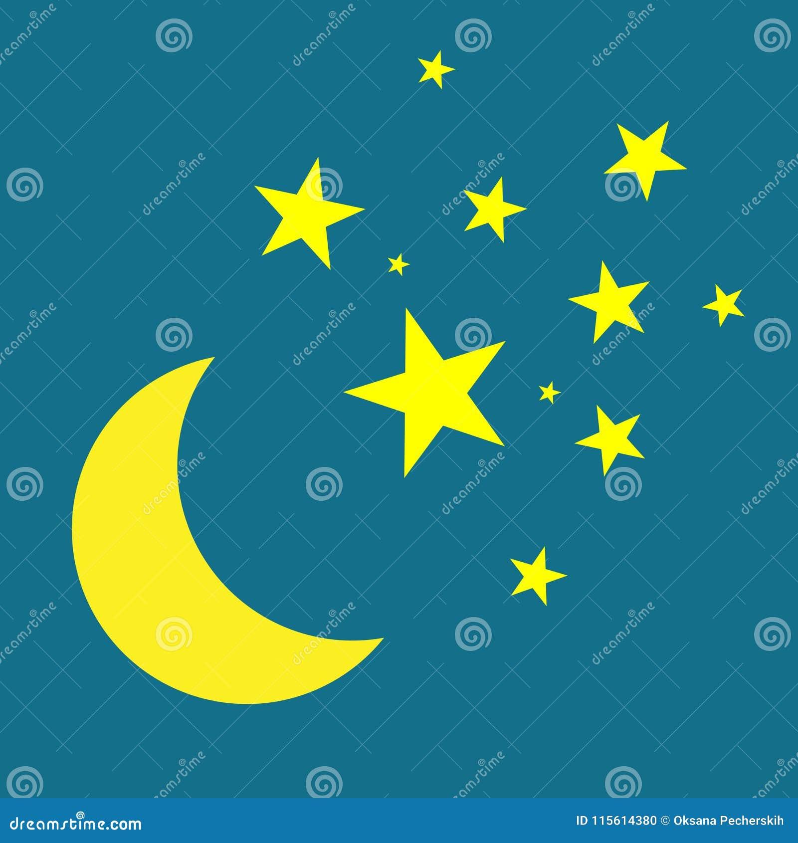 Księżyc i gwiazd wektoru ikona Kolor żółty gwiazdy na błękitnym nocnym niebie
