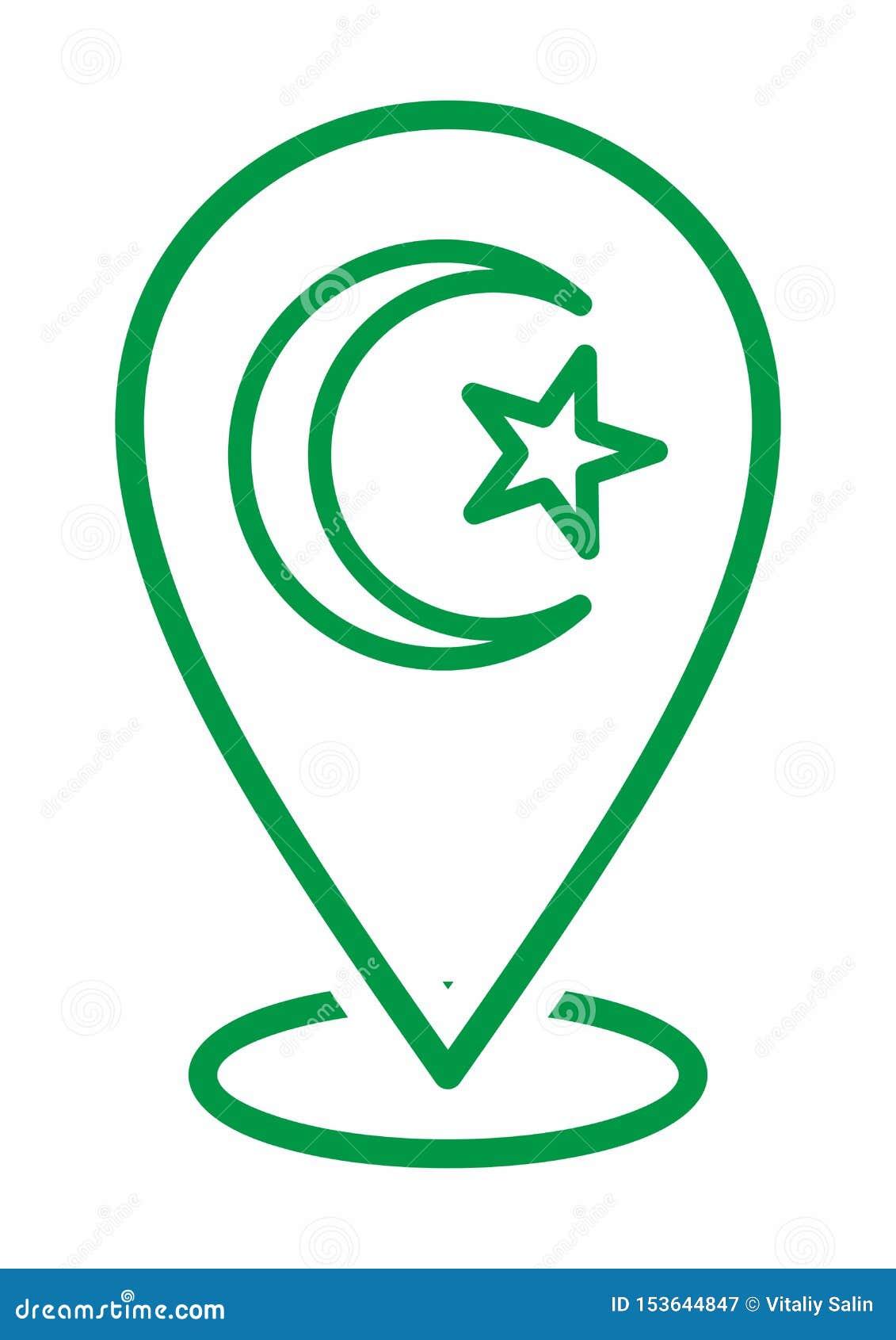 Księżyc i gwiazdy ikony logo Islamski szyldowy symbol muslim ja modl? si? kareem Ramadan lokacji ikona Dla Wielo- zamierza Mapa m