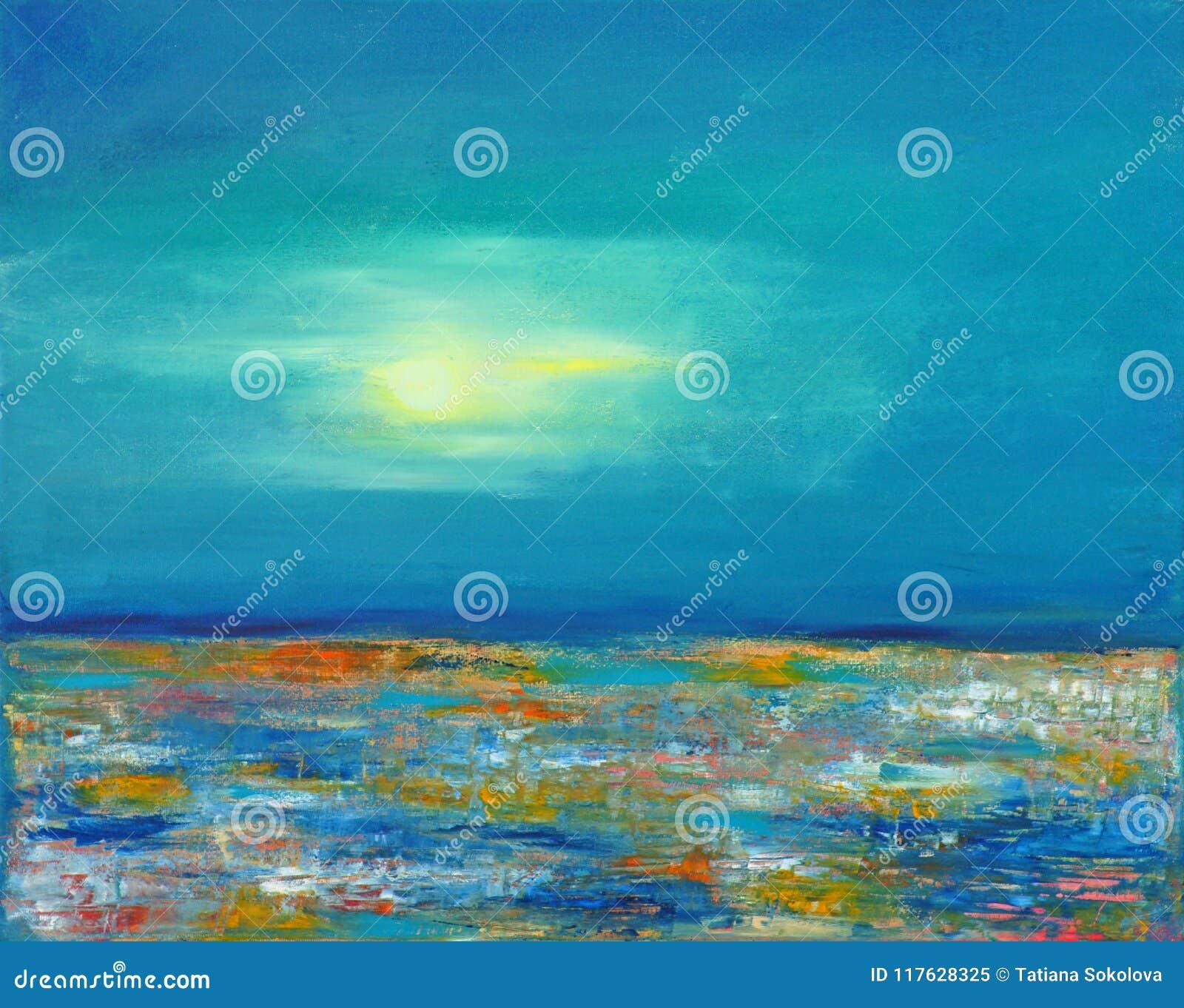 Księżyc nad kolorowym morzem