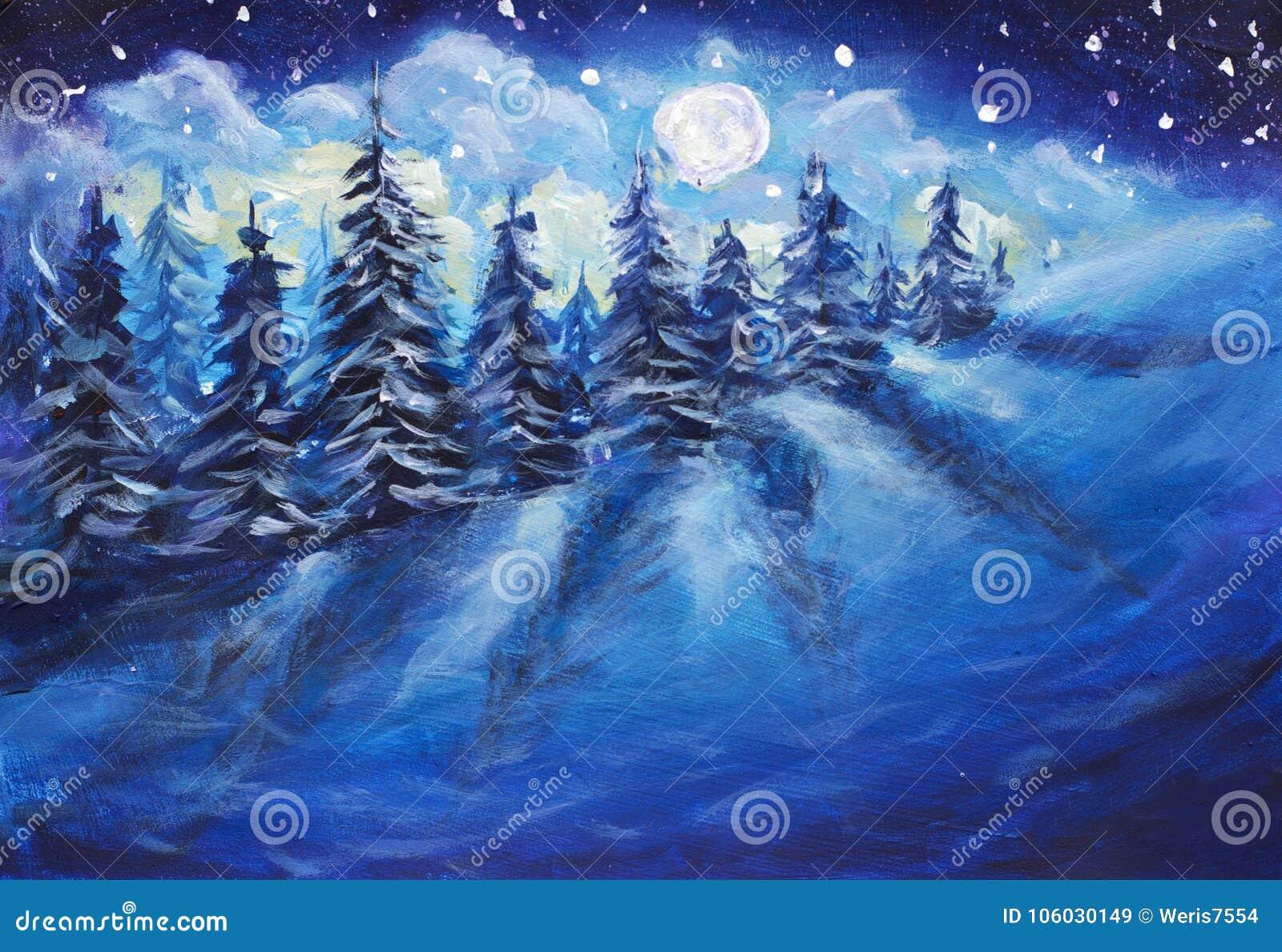 Księżyc w pełni wydźwignięcie nad zima las zakrywający z świeżym śniegiem Fantastyczny jaskrawy milky sposobu oryginału obraz ole