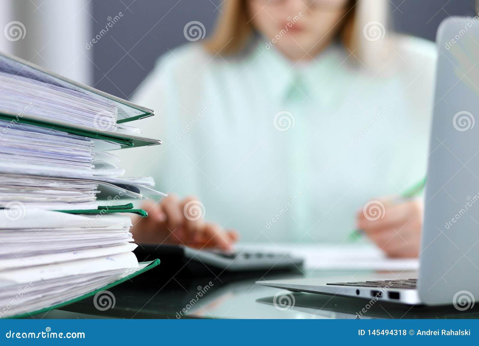 Ksi?gowa, pieni??ny inspektorski robi raport lub, Rewizi i podatku us?ugowy poj?cie Ziele?