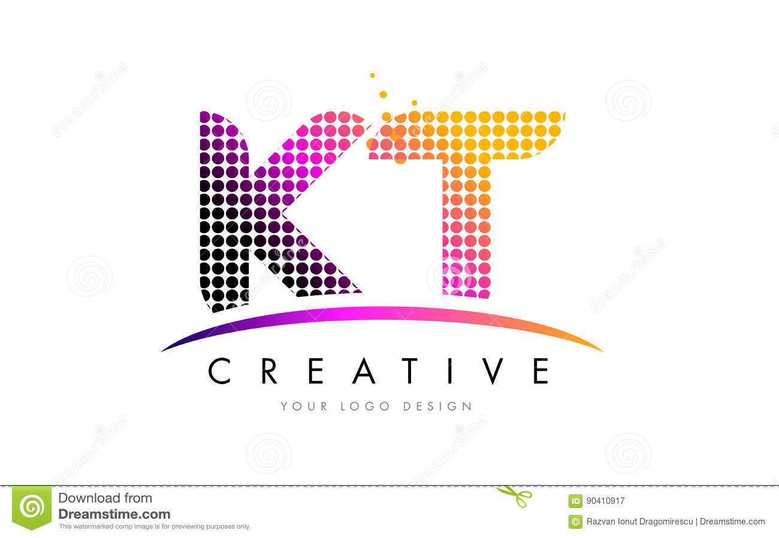 KT K T Letter Logo Design with Magenta Dots and Swoosh