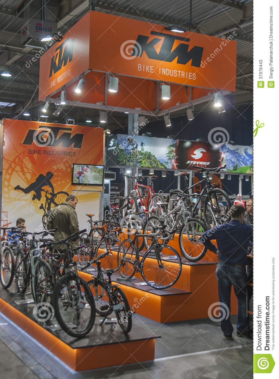 Trade Show Booth Visitors : Ktm booth at bike trade show editorial stock photo image