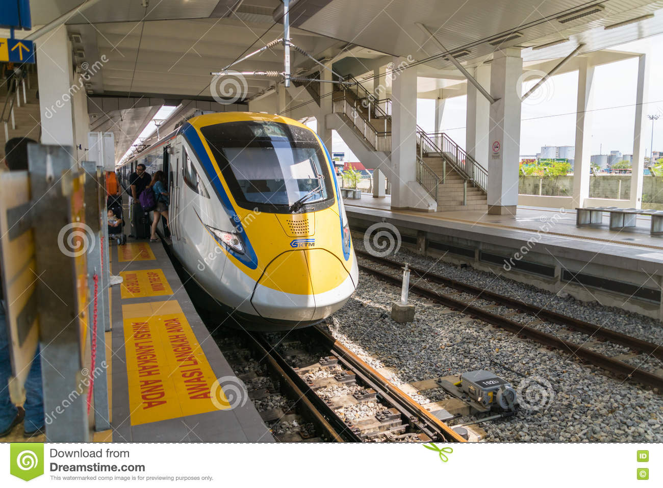 ktm ets train in penang malaysia editorial stock photo image of