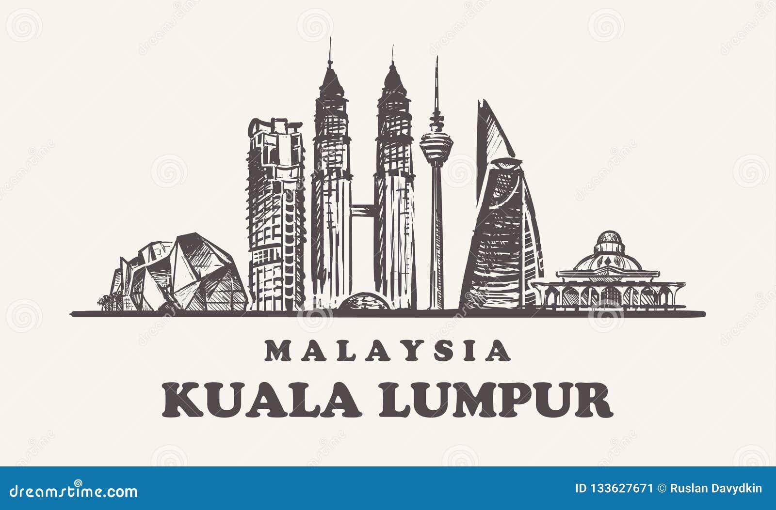 Kuala Lampur horisont, illustration för Malaysia tappningvektor, utdragna byggnader för hand