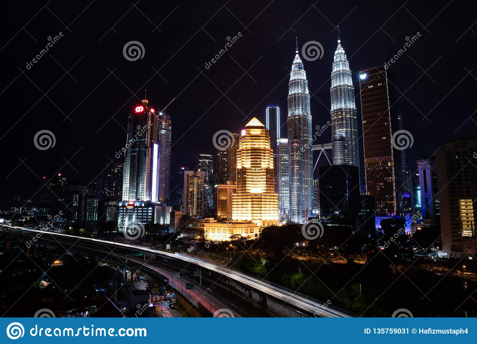 Kuala Lumpur City Center skyline at night view