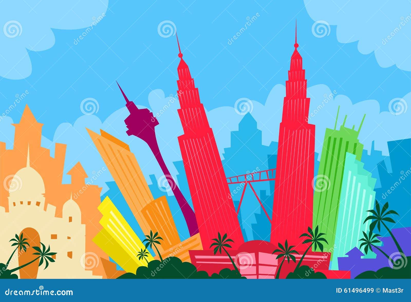Kuala Lumpur Malaysia Abstract Skyline City Stock Vector