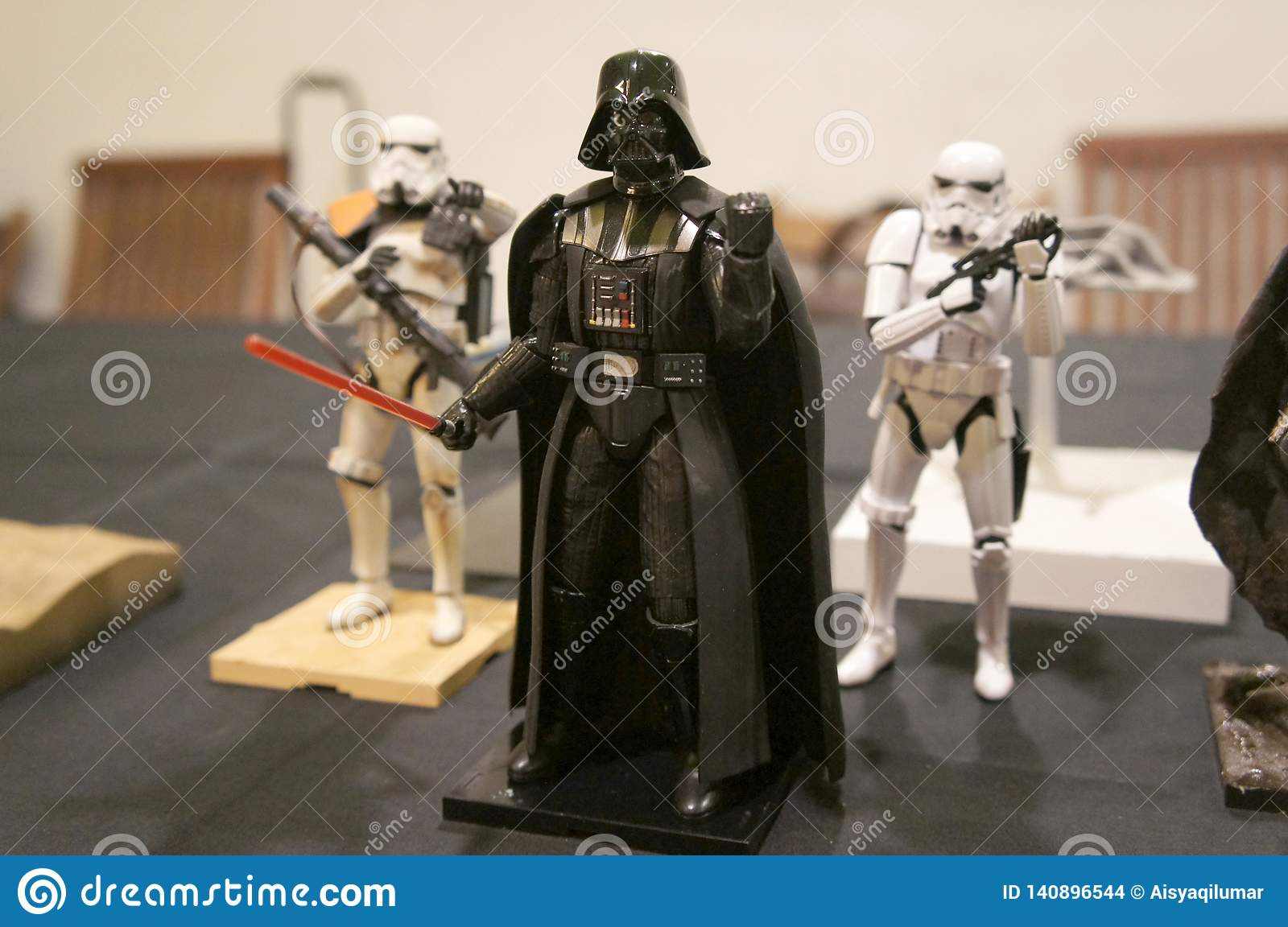 Fictional character action figures of Darth Vader from Star Wars franchise movies