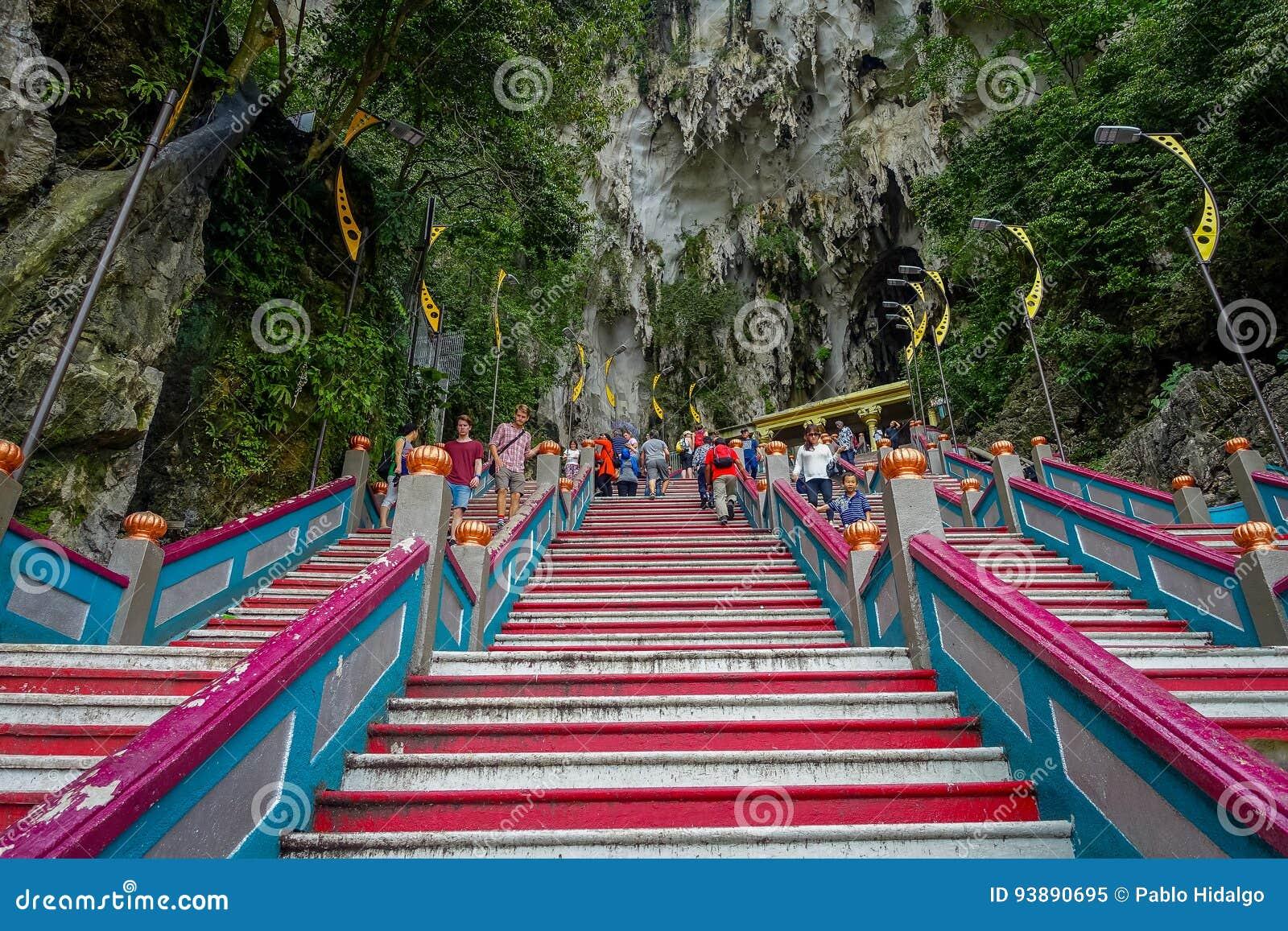 kuala lumpur, malaysia - march 9, 2017: stairs in batu caves, a