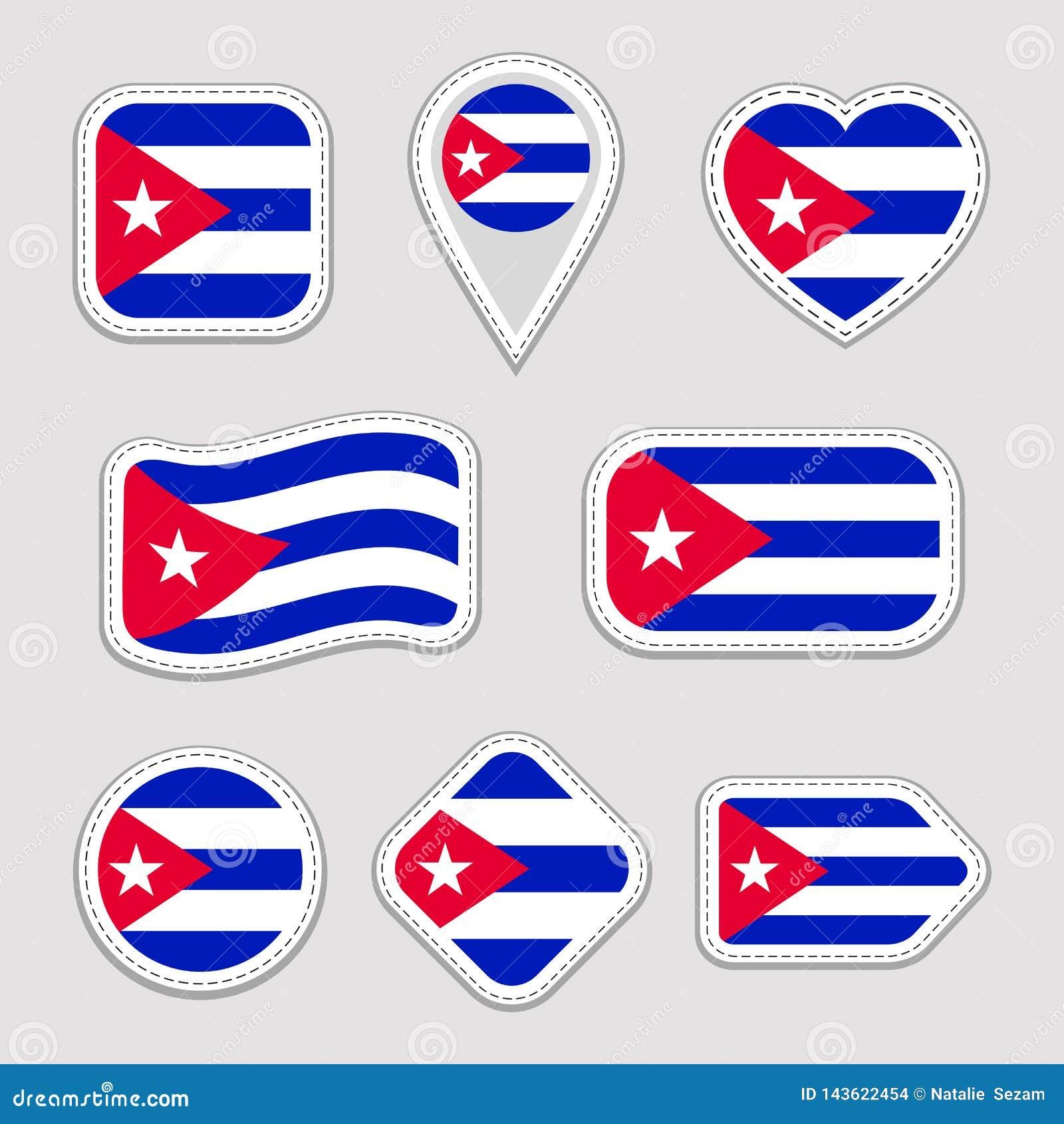 Kuba-Flaggen-Vektor-Satz Kubanische Aufklebersammlung Lokalisierte geometrische Ikonen Ausweise der nationalen Sonderzeichen des