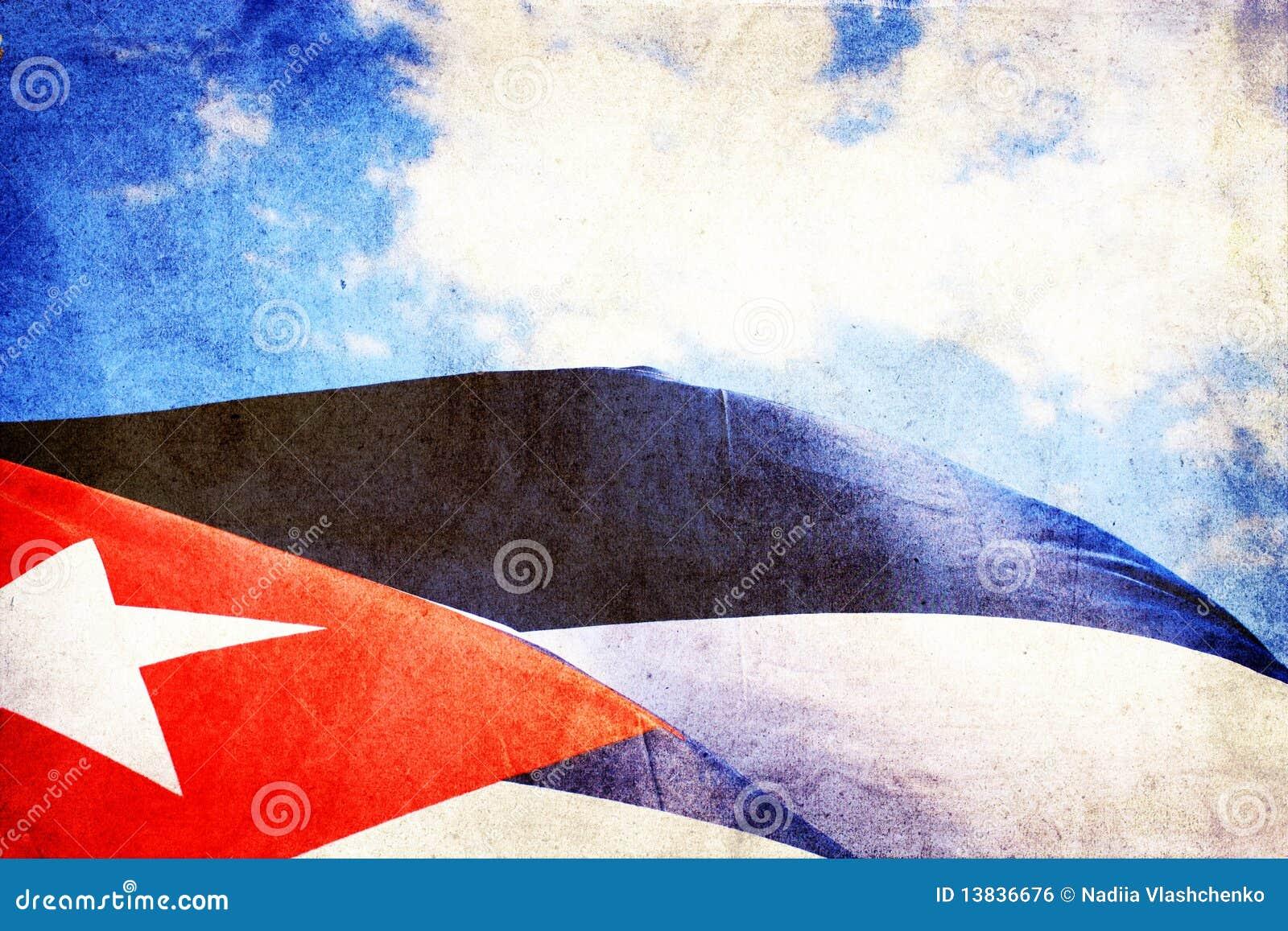 Kubanische Markierungsfahne, die in den Wind wellenartig bewegt