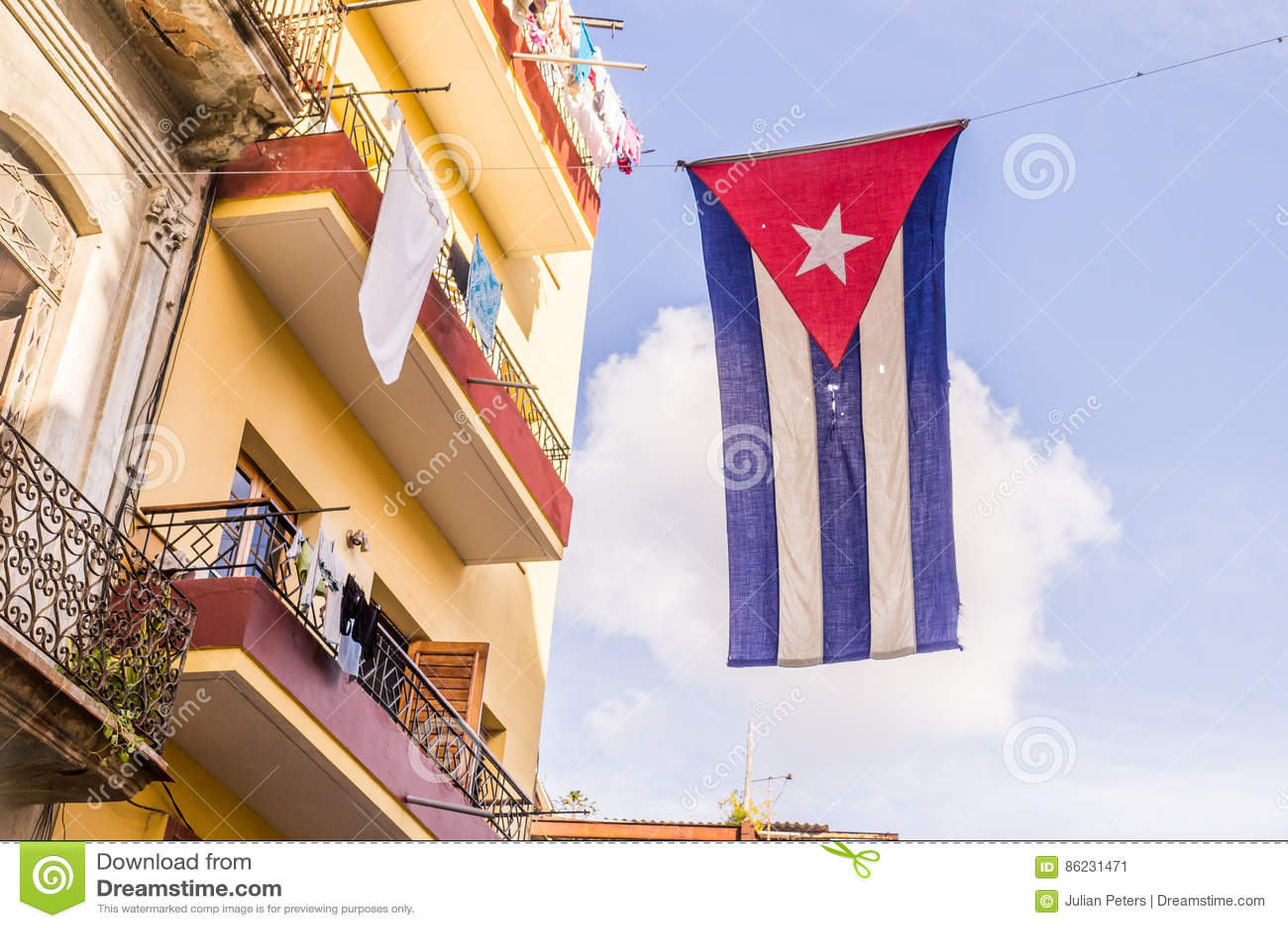 Kubanische Markierungsfahne in Havana