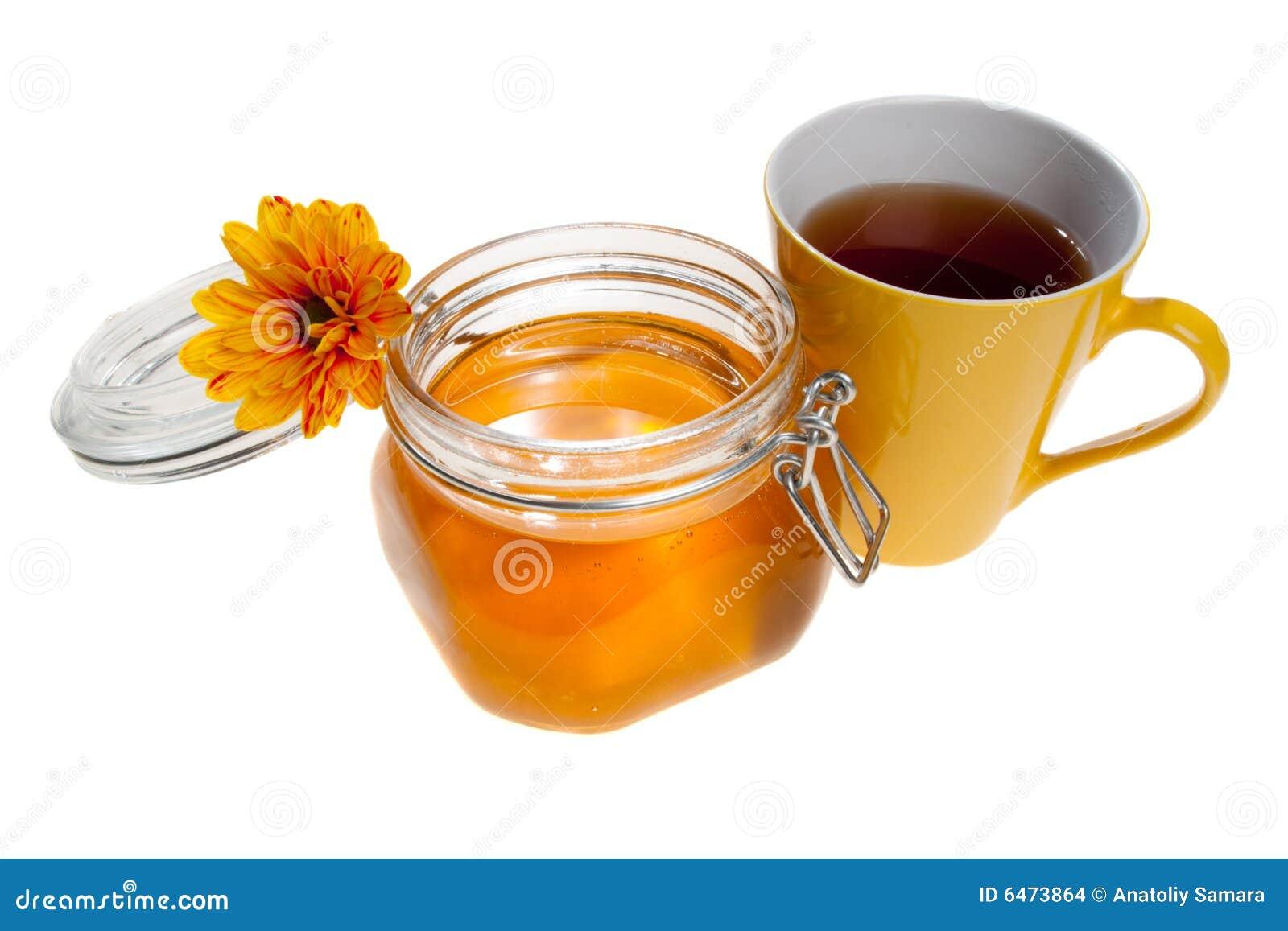 Kubek herbaty słoiku miodu występować samodzielnie