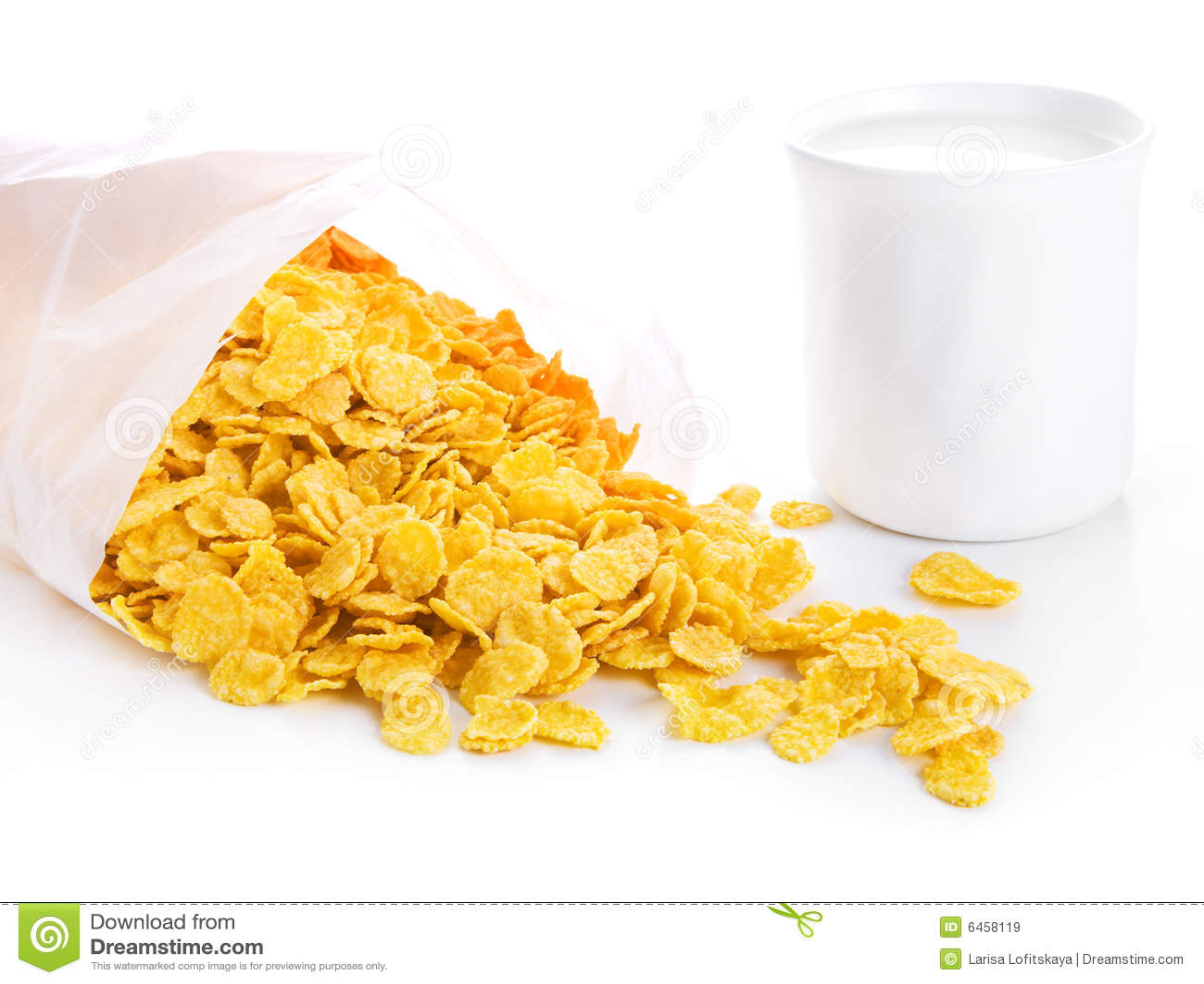 Kubek kukurydziany płatków mleka