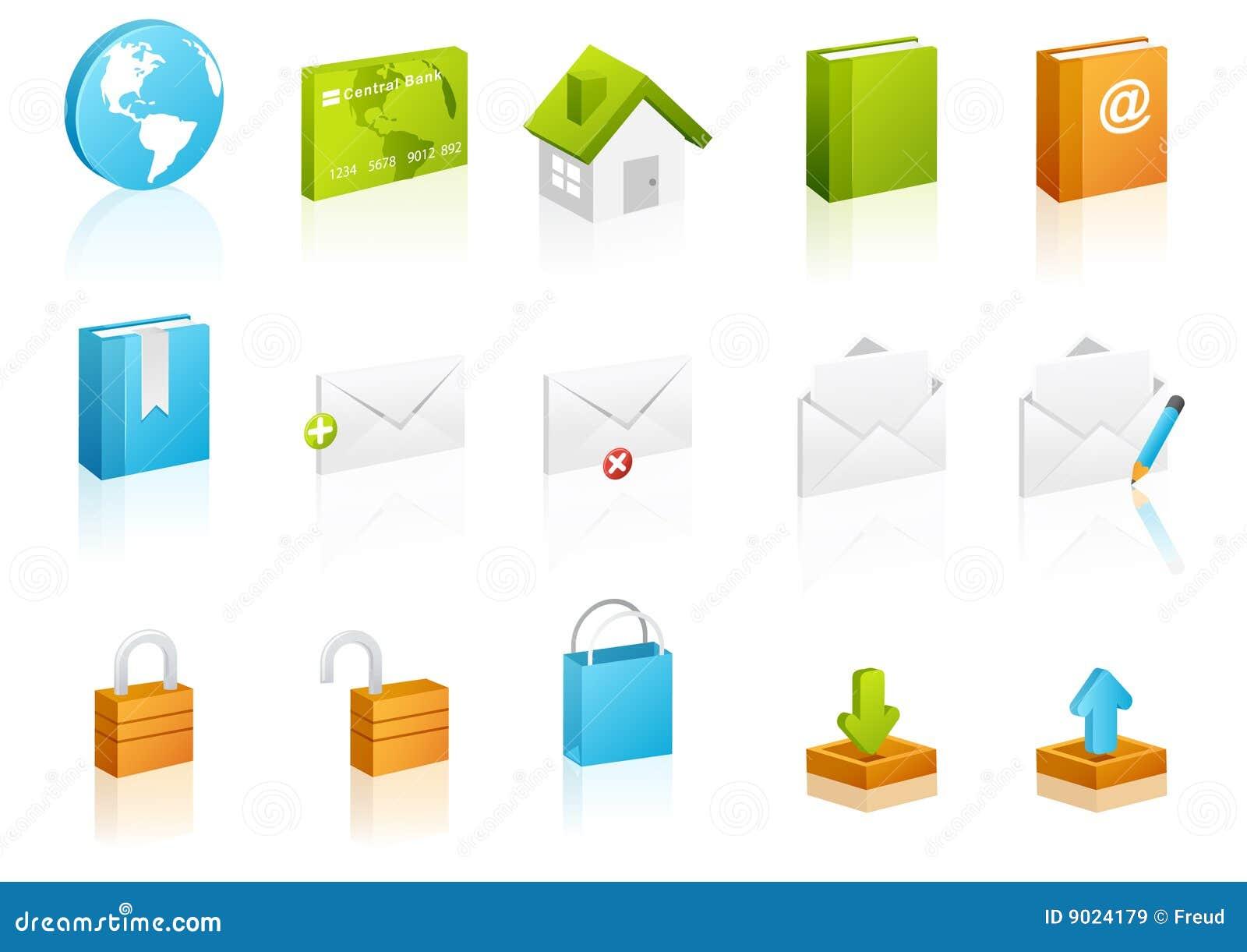 Kubicznych ikony internetów ustalona strona internetowa