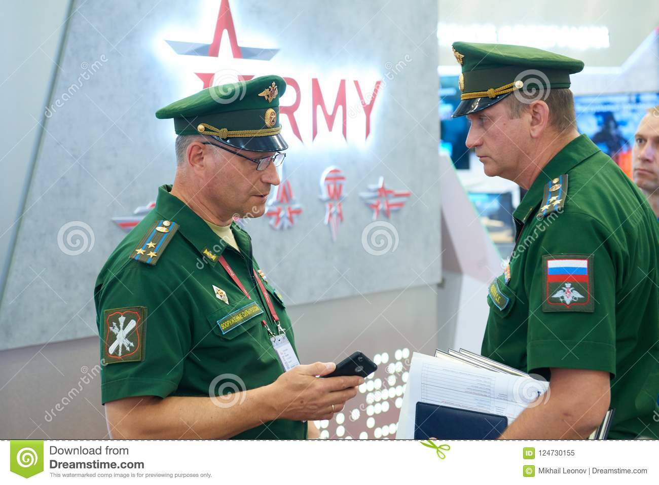 KUBINKA, RUSSIA, AUG 24, 2018: Two Russian Army Officers In