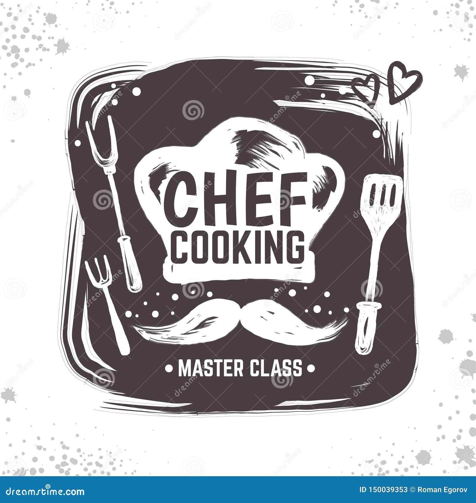 Kucbarski doodle logo Restauracyjny nakreślenie plakat, karmowa czarna odznaka z kuchni narzędziami i elementy, Wektorowa typogra