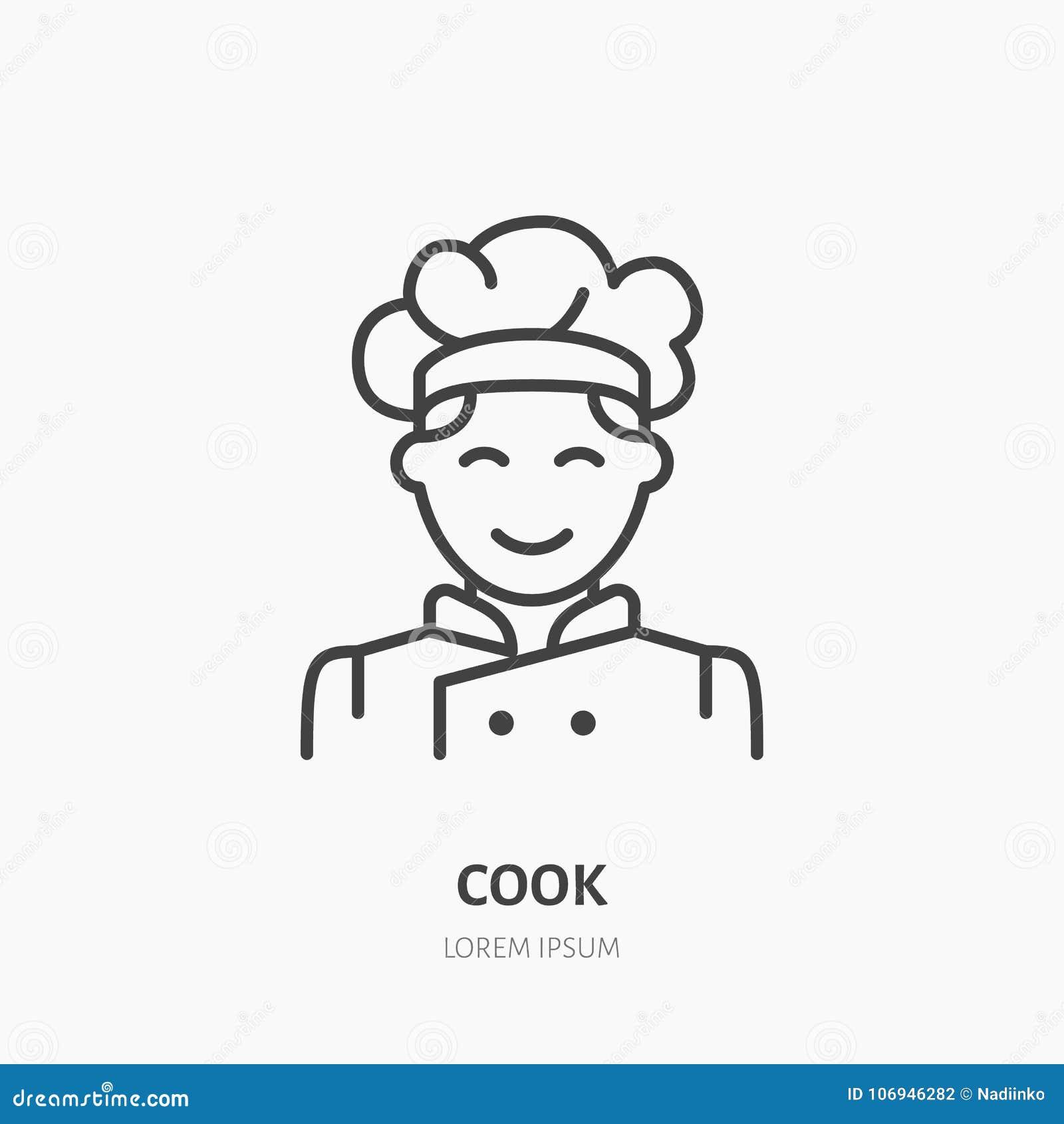 Kucbarski płaski logo, kreskowa ikona Uśmiechnięta szefa kuchni wektoru ilustracja Znak męska kuchenka