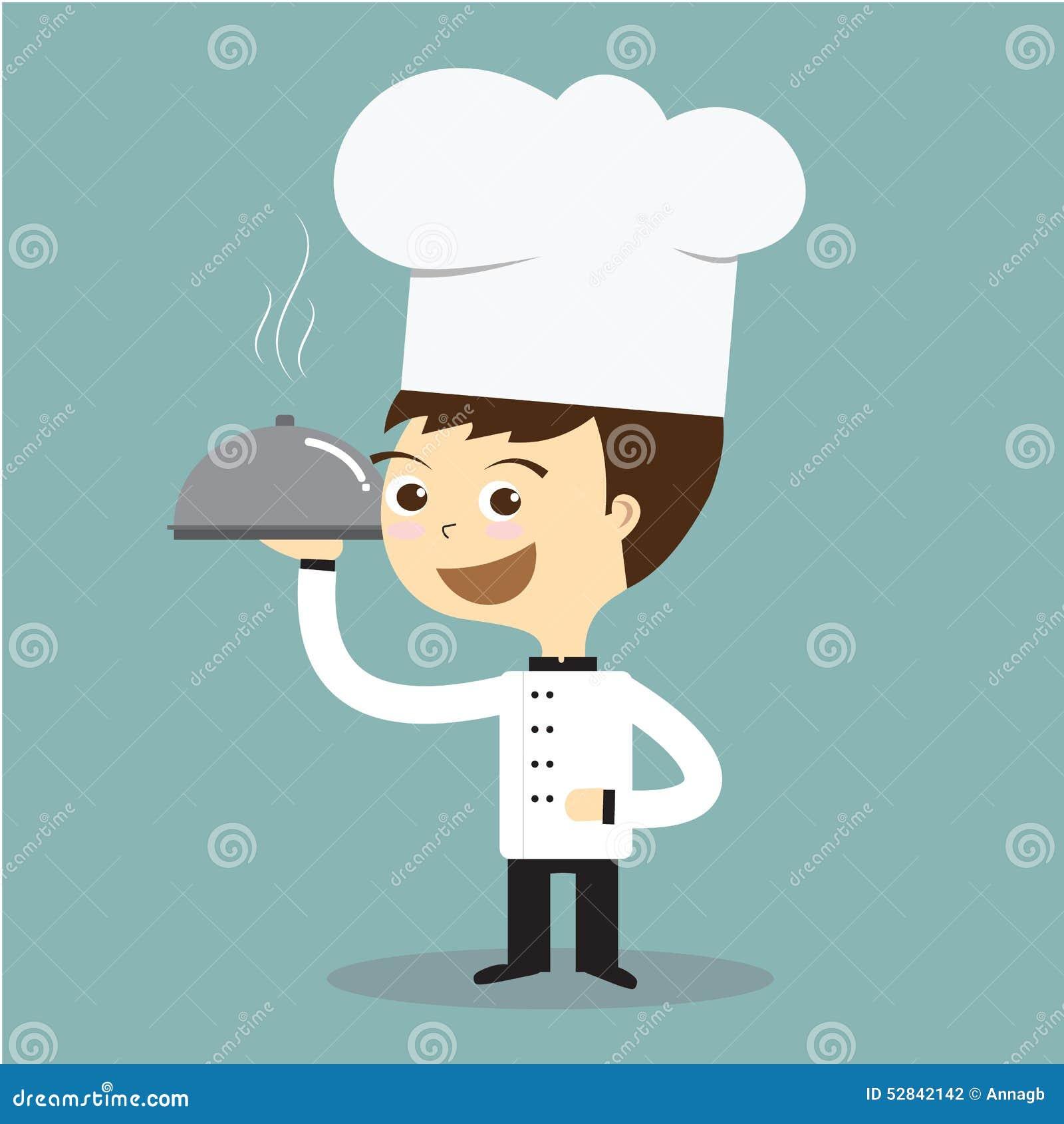 Kucbarski szef kuchni trzyma gorącego talerza z dymienie wektorem