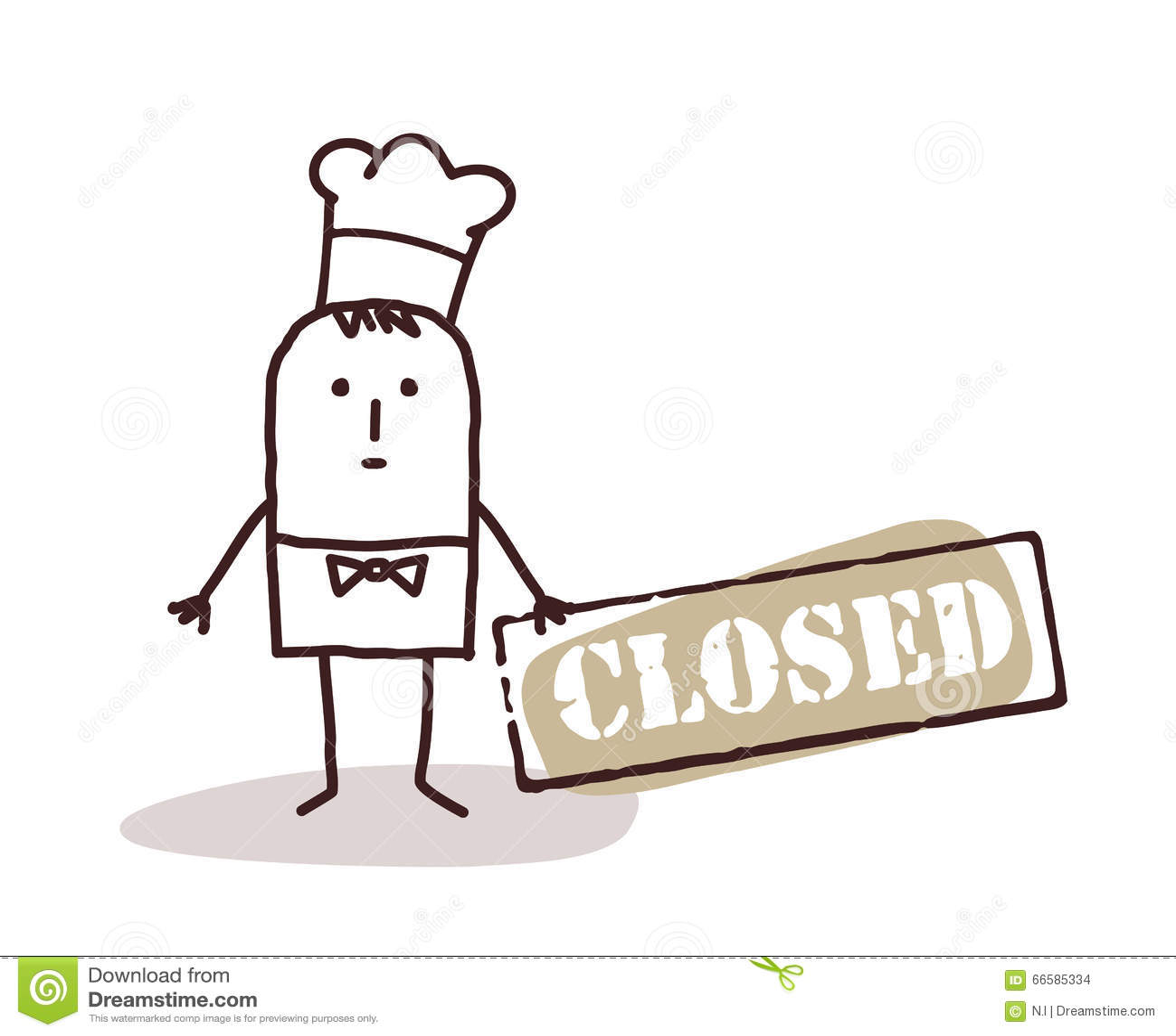 Kucbarski szef kuchni z zamkniętym znakiem