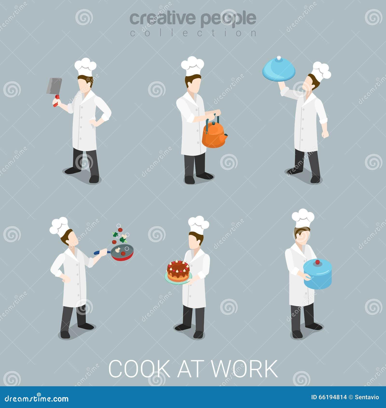Kucbarskiej pracy kucharstwa naczelny mundur wytłacza wzory mieszkania 3d isometric wektor