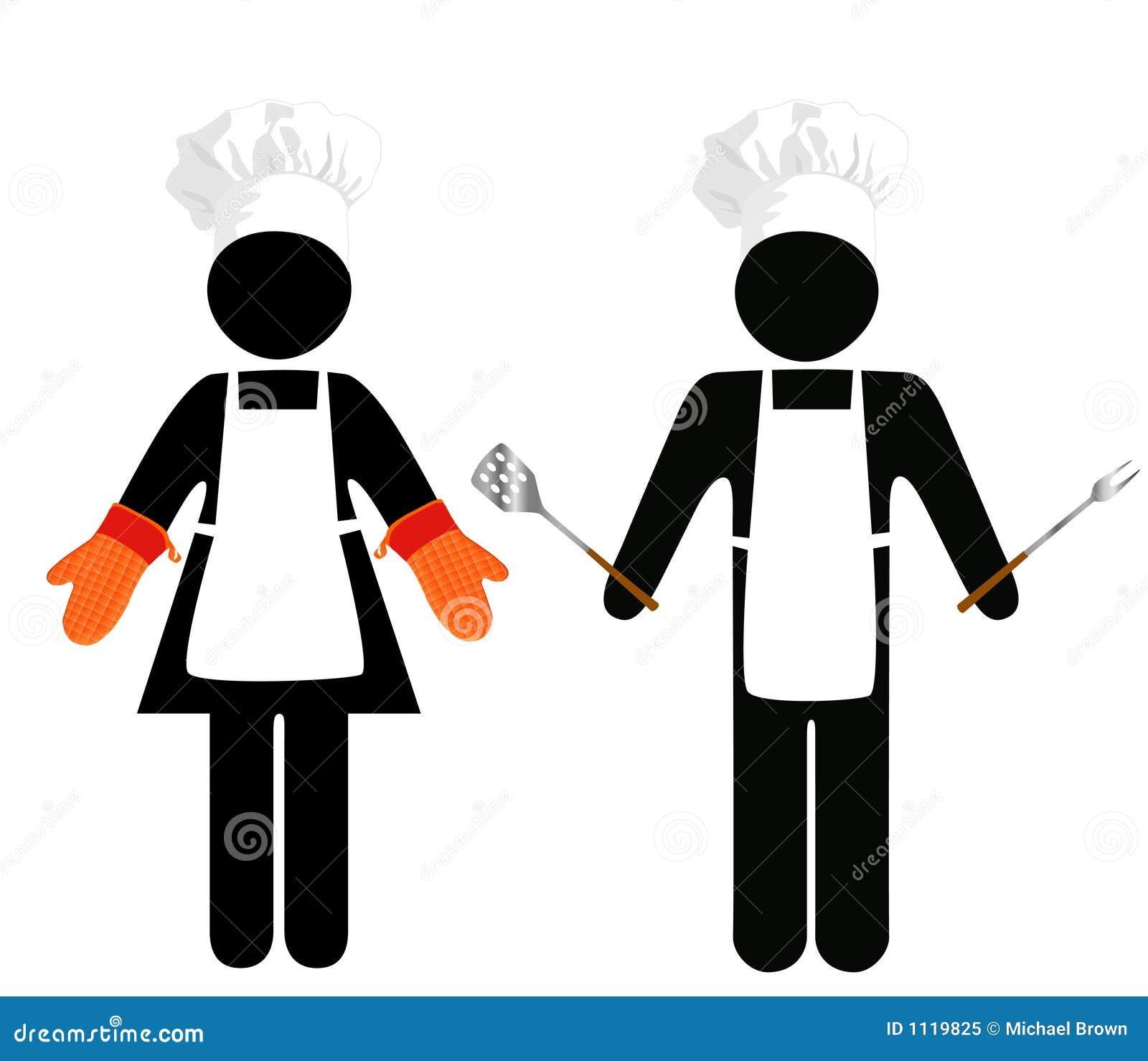 Kucharz grilla symbolu ludzi