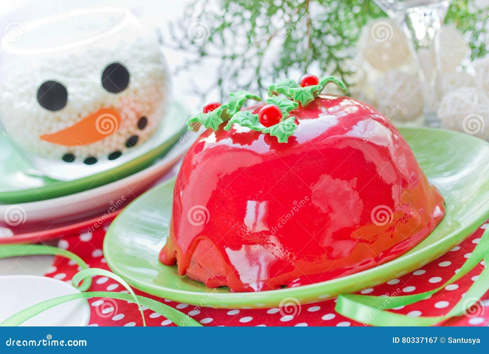 Kuchen Des Neuen Jahres Und Des Weihnachten Mit Roter Spiegelglasur