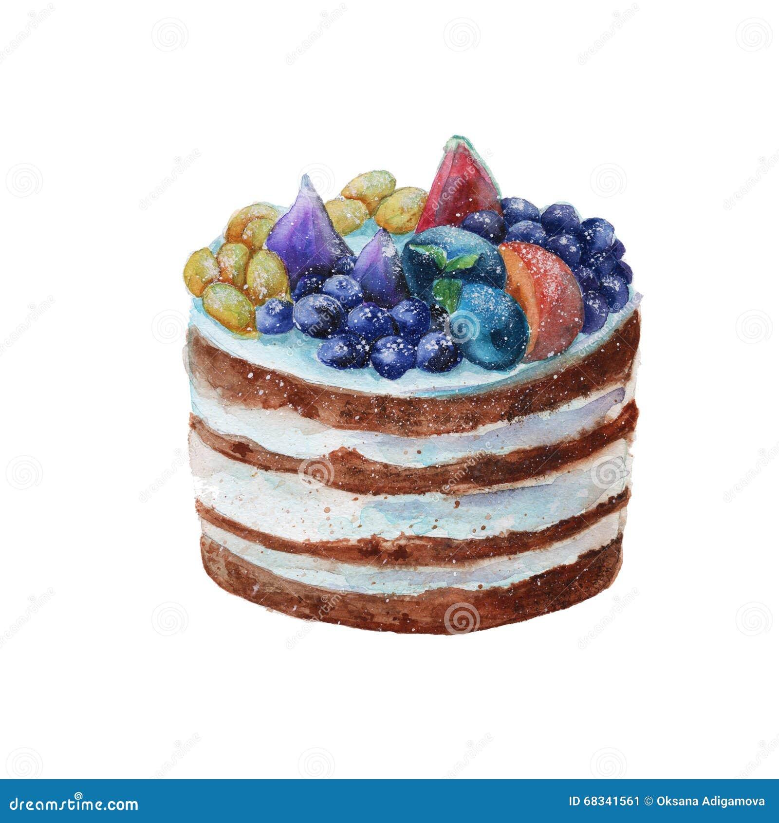Kuchen in einer rustikalen Art mit Frucht watercolor