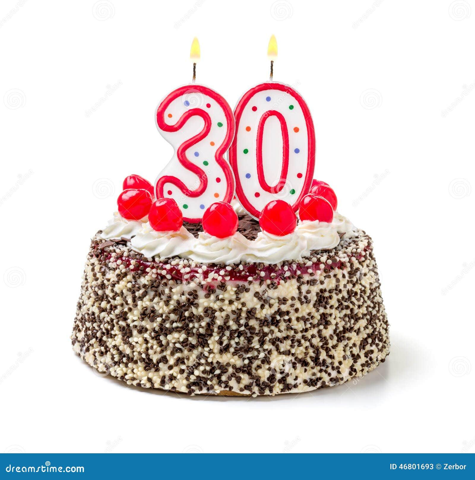 Kuchen Mit Brennender Kerze Nr 30 Stockbild Bild Von Celebrate