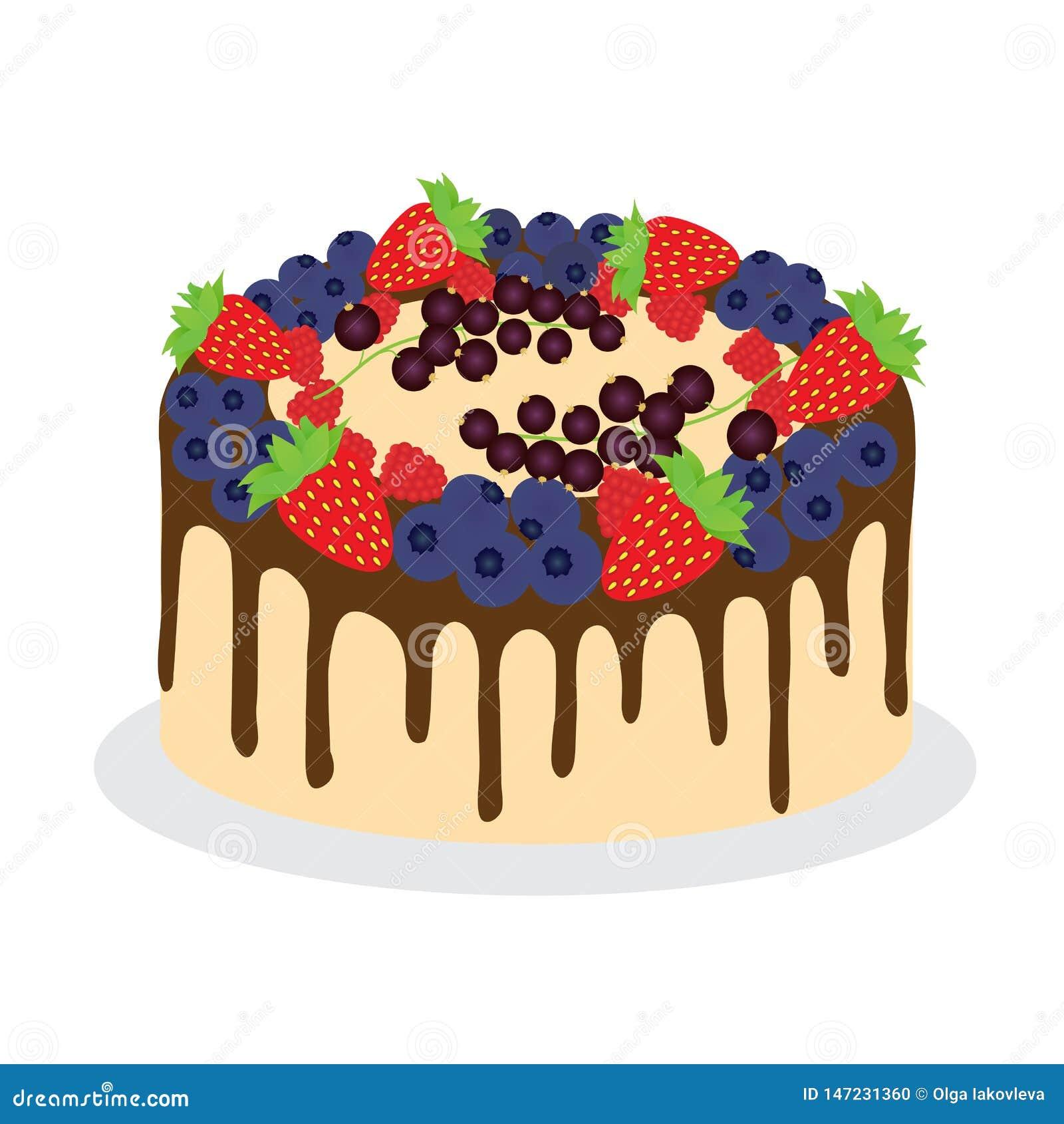 Kuchen mit frischen verschiedenen Beeren