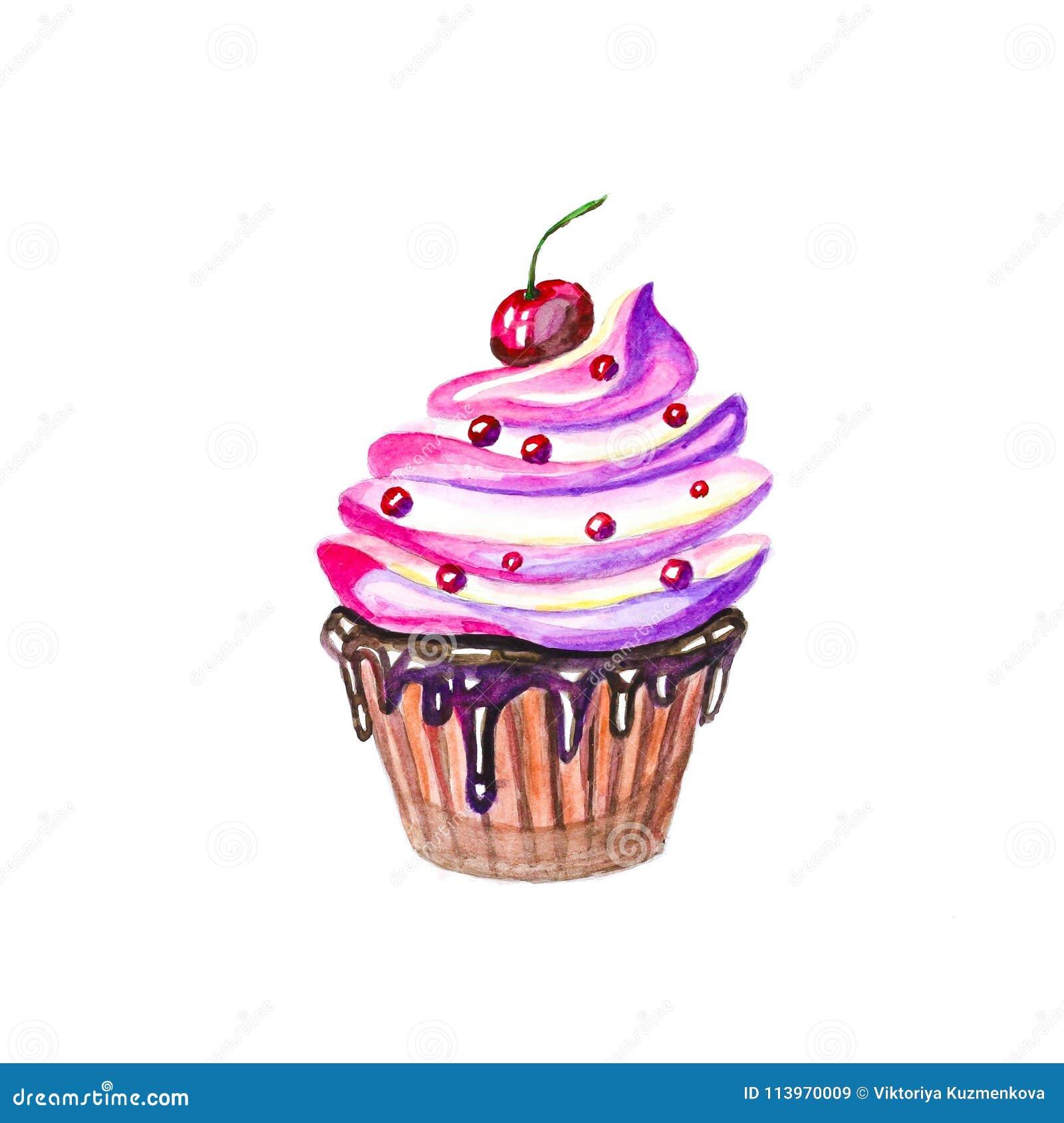 Kuchen Mit Sahne Schokolade Und Kirsche Auf Die Oberseite Von Hand