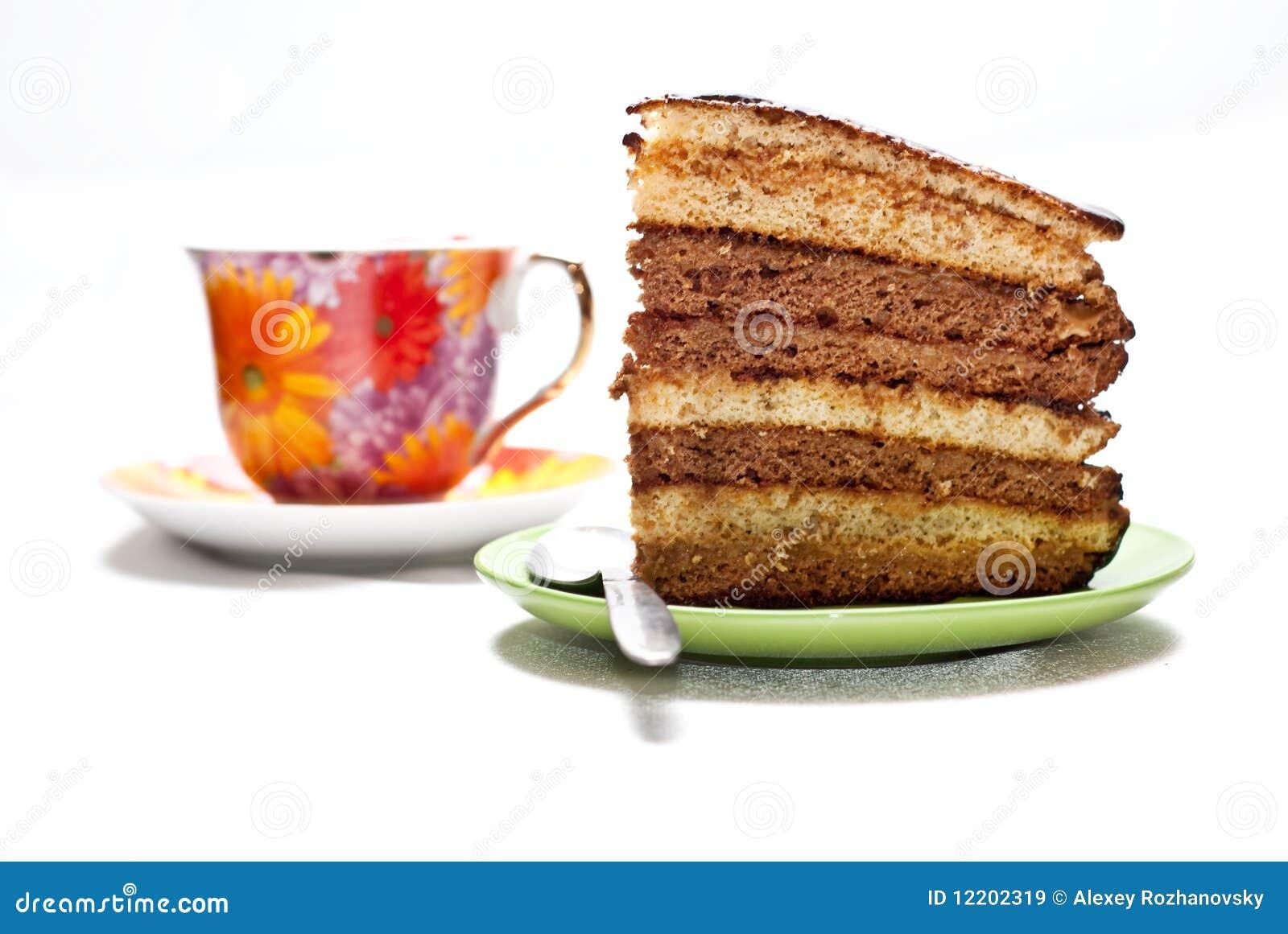 Kuchen mit Tee oder Kaffee