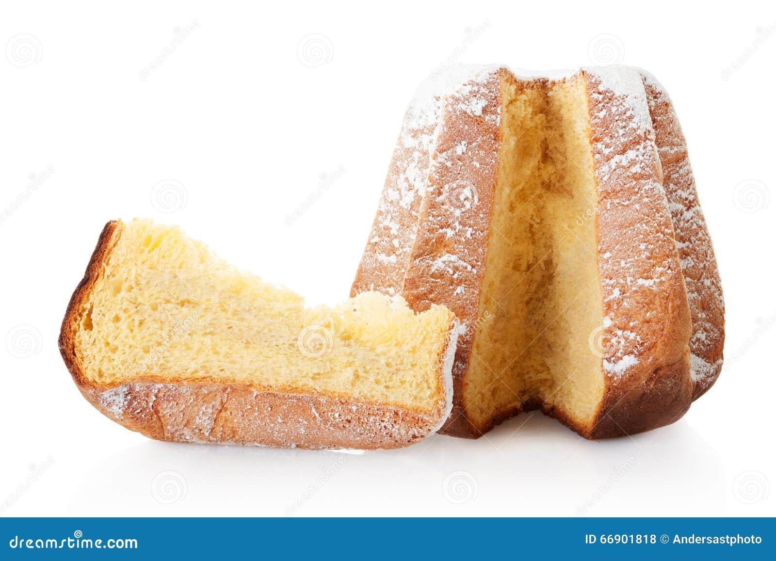 Kuchen Pandoro Des Weihnachten Und Teil Stockfoto Bild Von