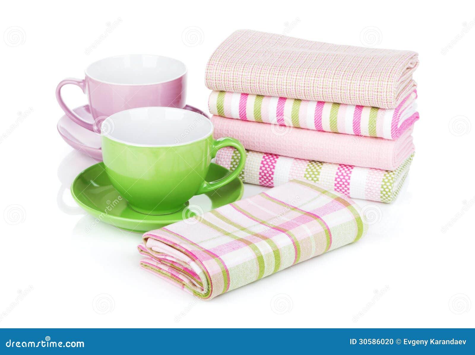 Kuchenni ręczniki i filiżanki