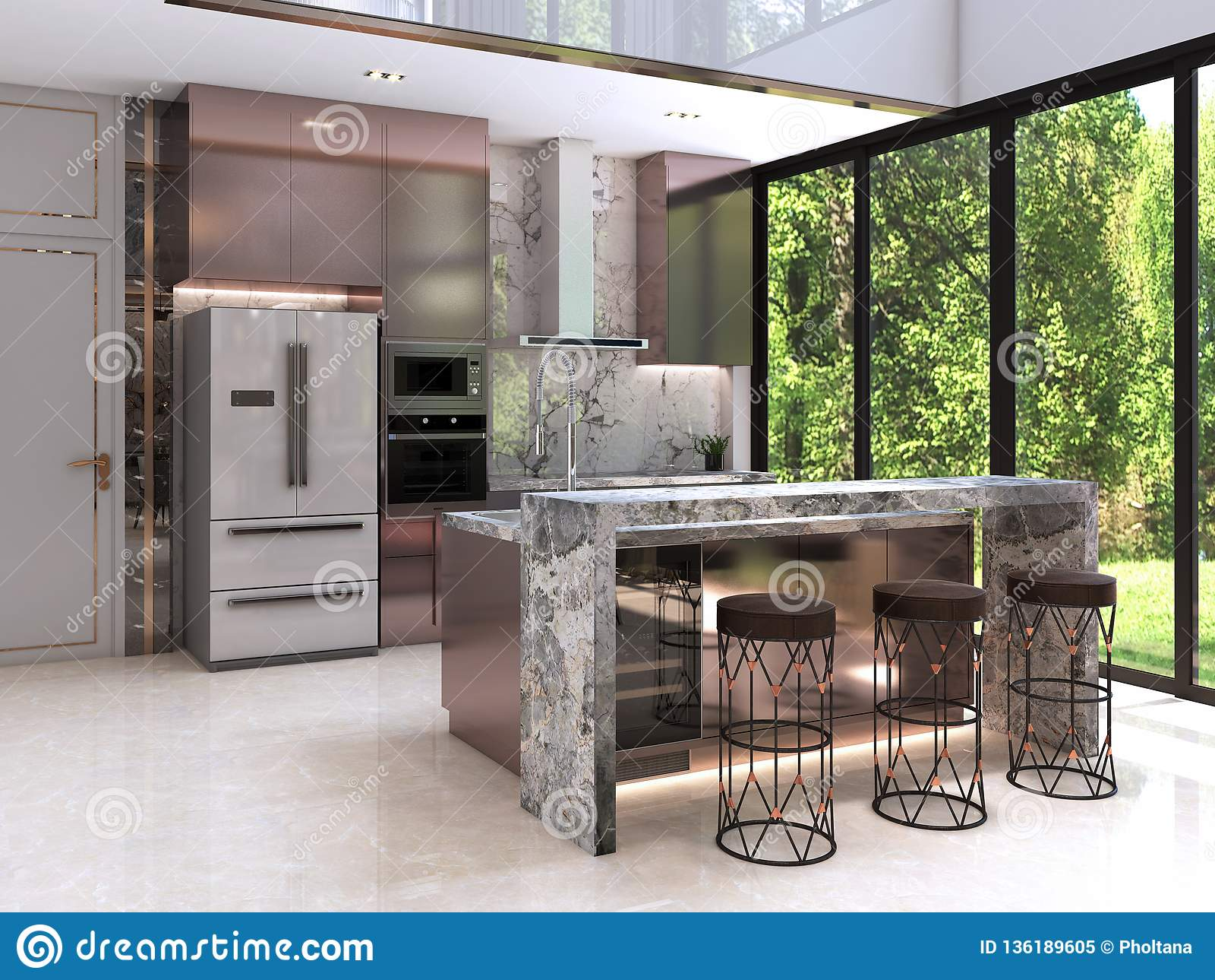 Kuchenny projekt, wnętrze nowożytny luksusu styl,
