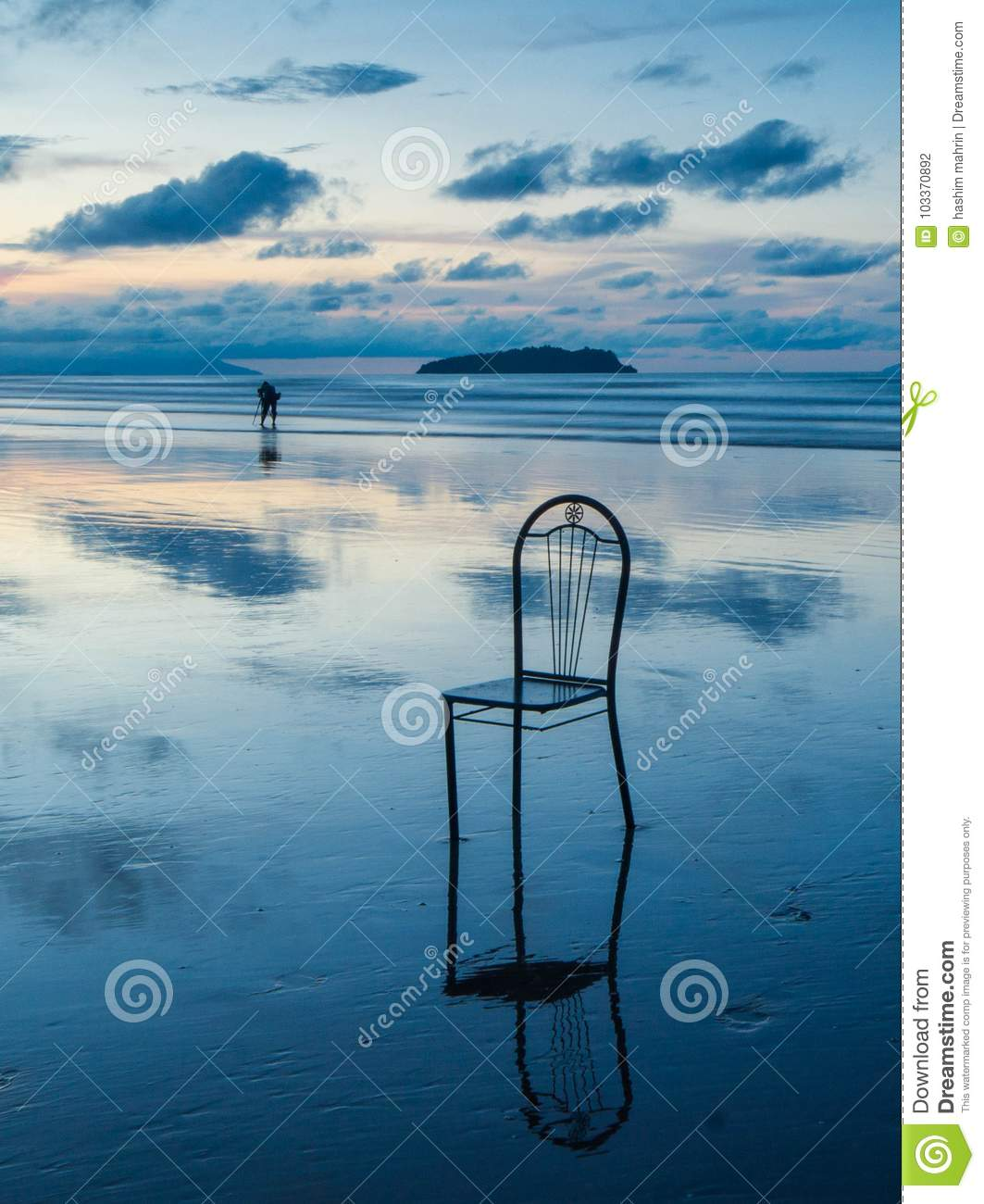wonderful sunrise colour with broken chair