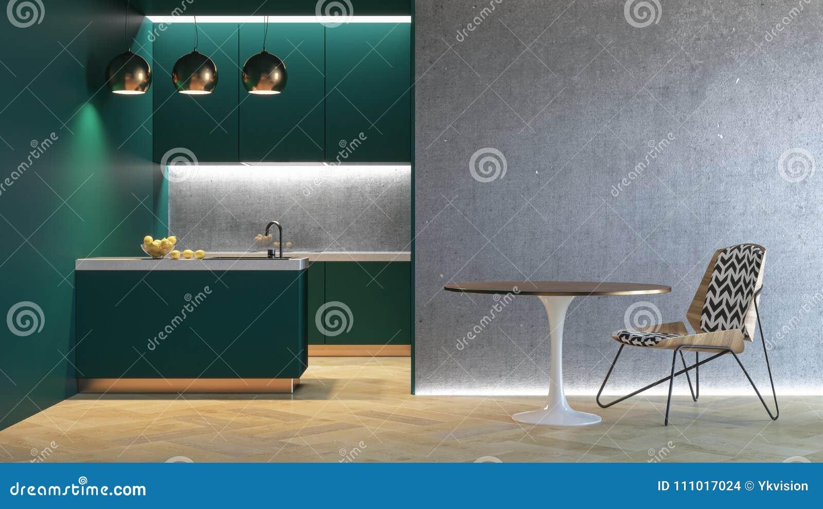 Kuchni Zielony Minimalistic Wnętrze 3d Odpłacają Się