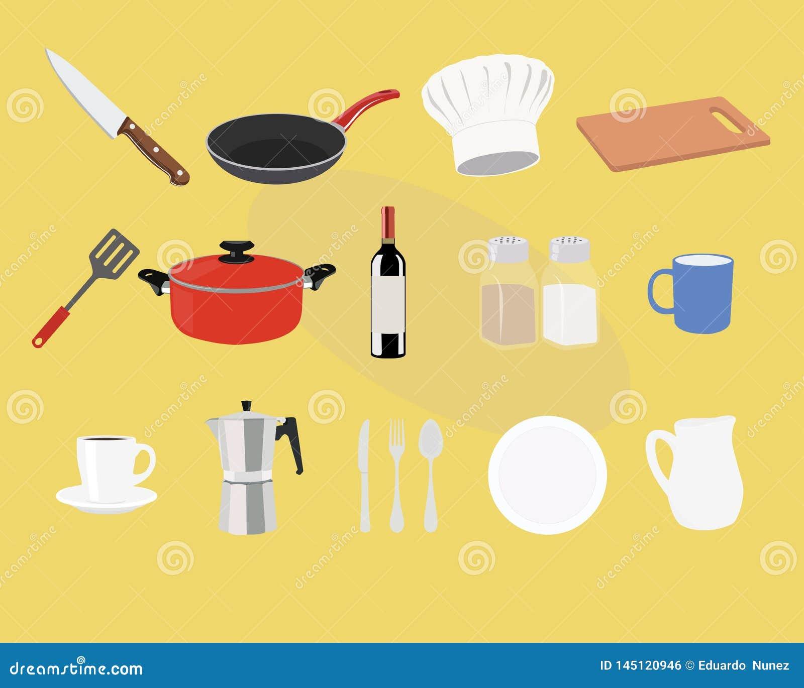 Kuchnia i Kulinarny ikona set r?wnie? zwr?ci? corel ilustracji wektora