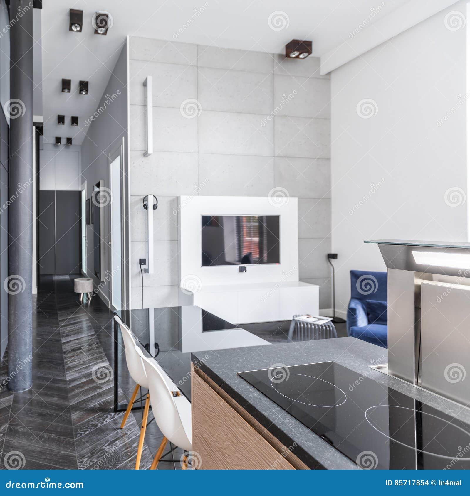 Kuchnia Otwarta żywy Pokój Zdjęcie Stock Obraz Złożonej Z