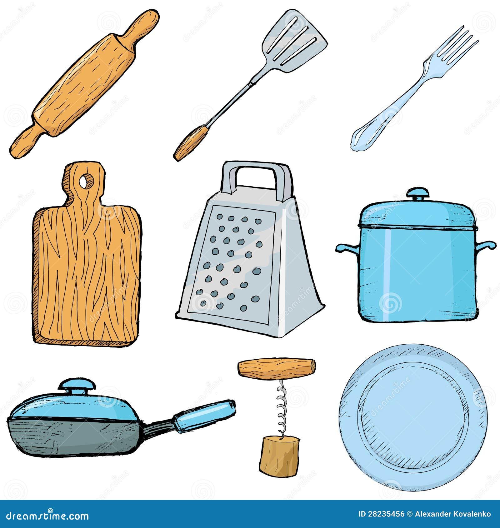 Kuchnia przedmioty ilustracja wektor ilustracja z o onej for Articulos de cocina para chef
