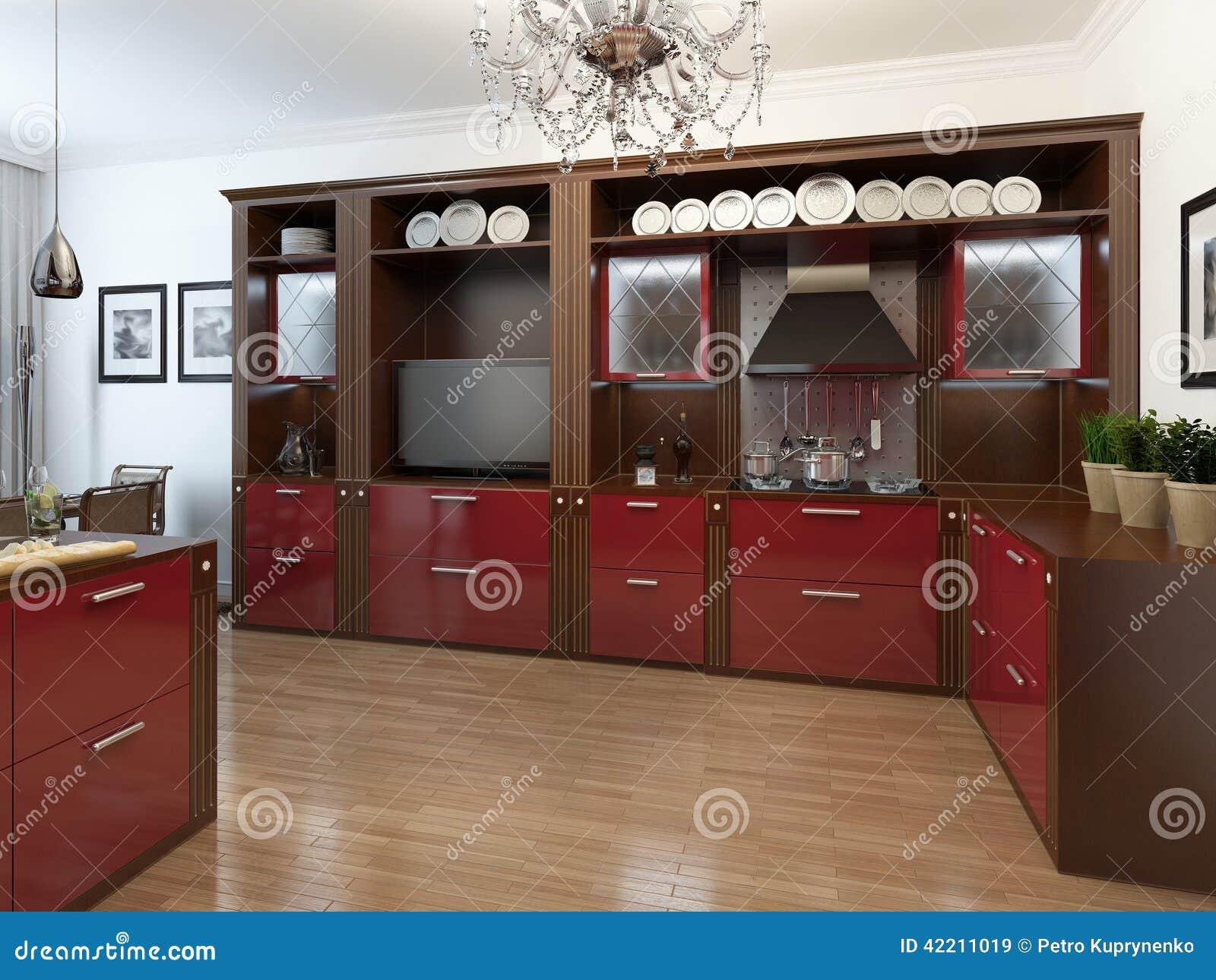 Kuchnia W Art Deco Stylu Ilustracji Ilustracja Złożonej Z