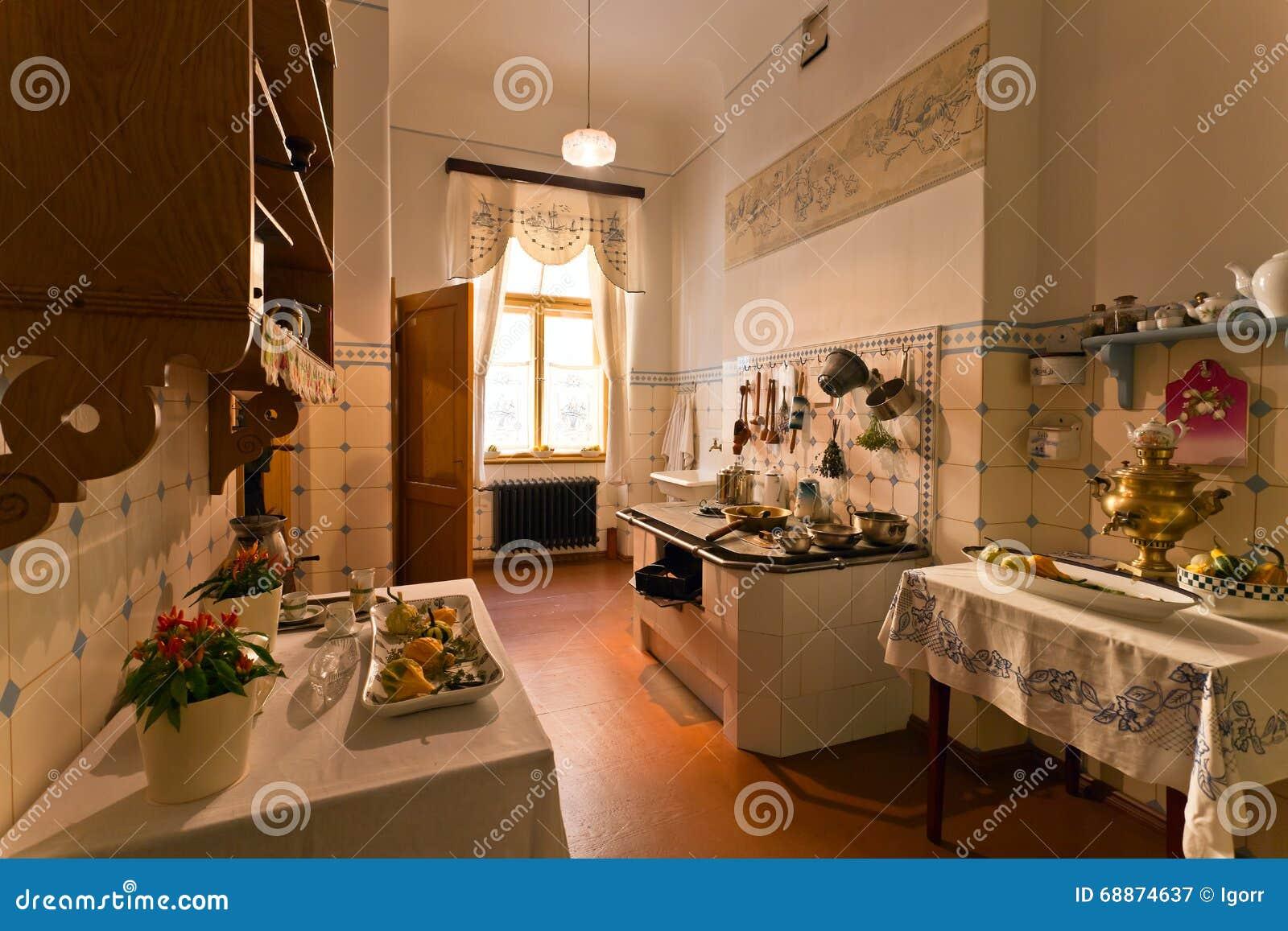 Kuchnia W Mieszkanie Domu Xix Wiek Obraz Stock Obraz Zlozonej Z