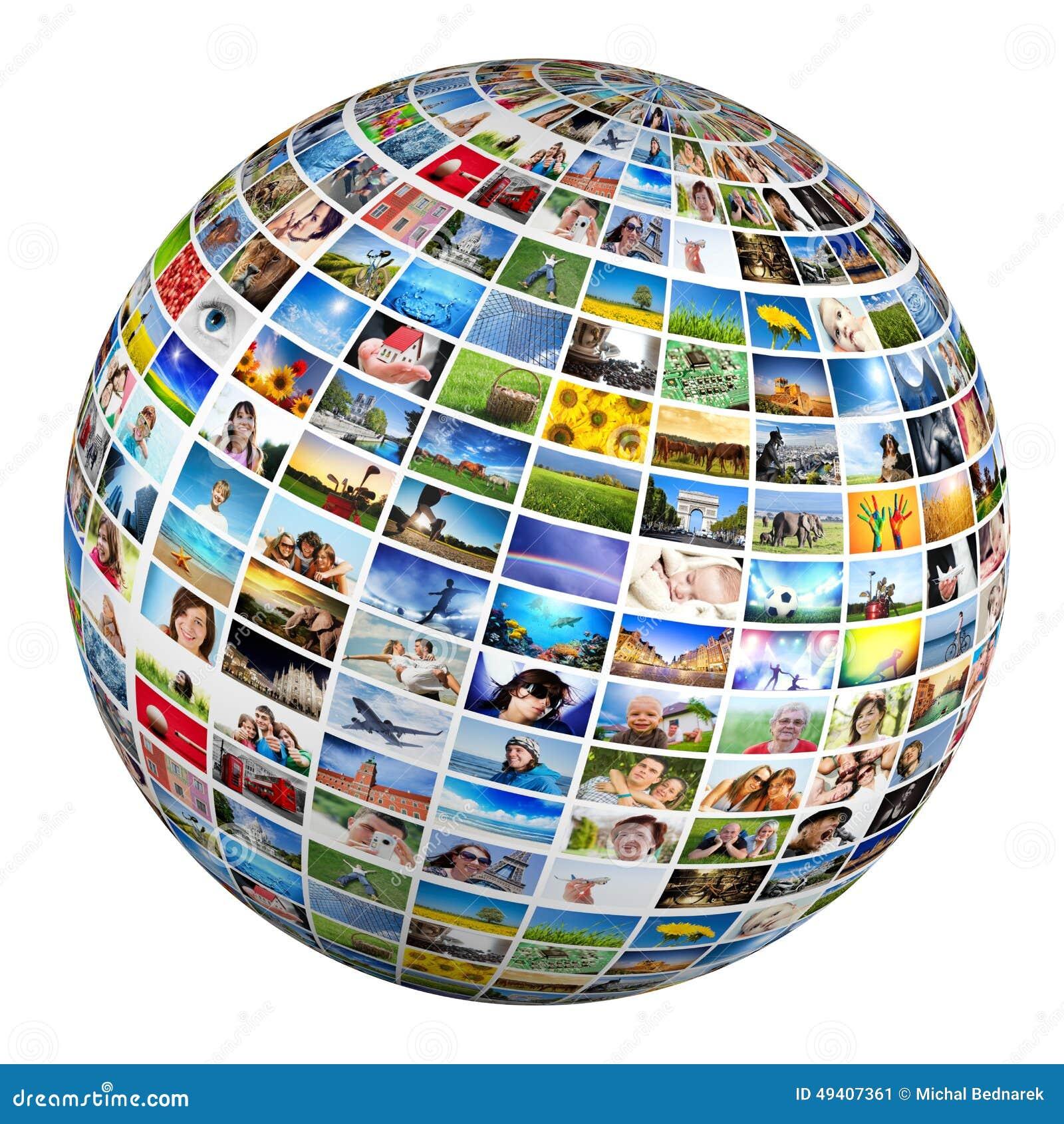 Download Kugel, Ball Mit Verschiedenen Bildern Von Leuten, Natur, Gegenstände, Plätze Stockbild - Bild von gruppe, internet: 49407361