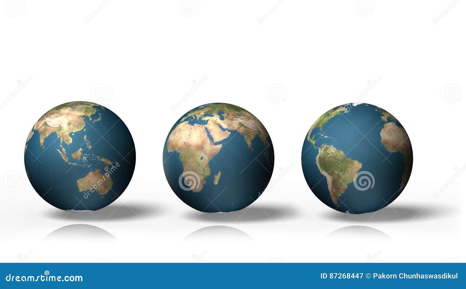 Kugel 3D, die Erde mit allen Kontinenten, lokalisiert auf weißem Hintergrund zeigt