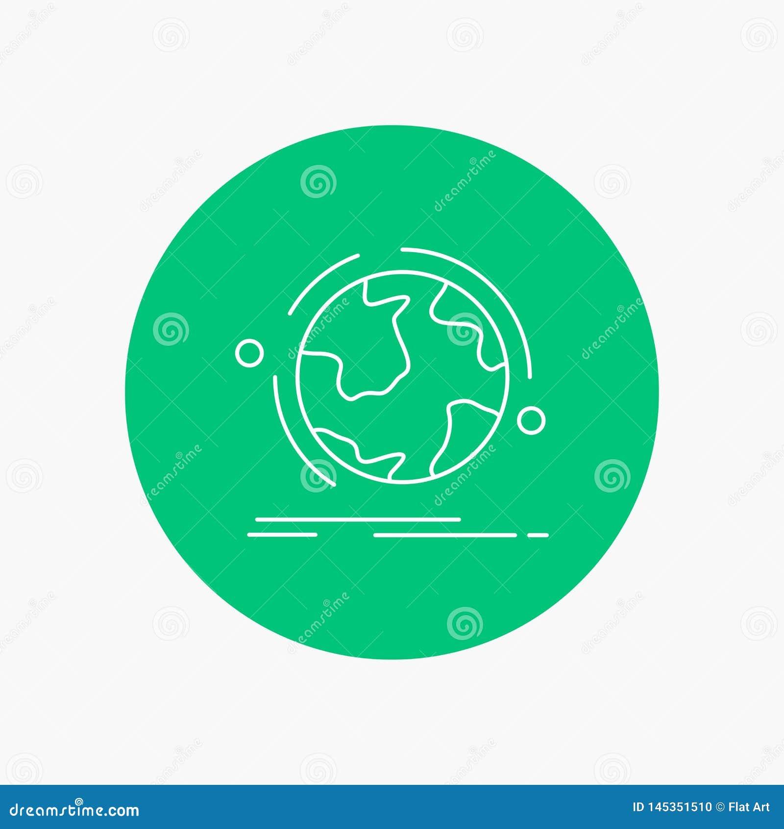 Kugel, Welt, entdecken, Verbindung, Netz weiße Linie Ikone im Kreishintergrund Vektorikonenillustration