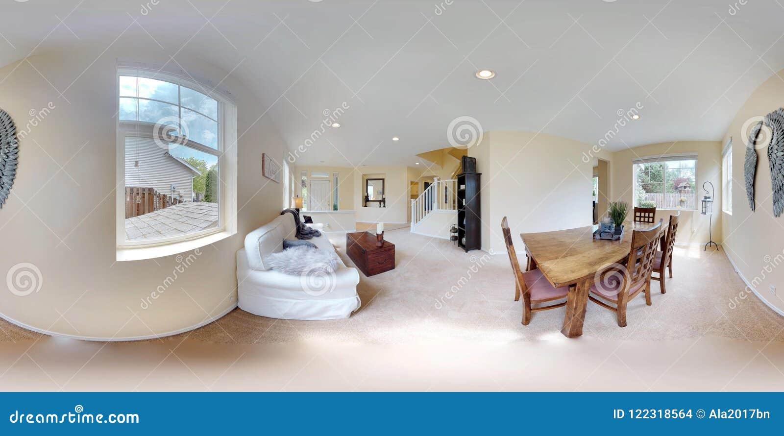 Kugelförmige 360 Grad der Illustration 3d, ein nahtloses Panorama des Hauptinnenraums