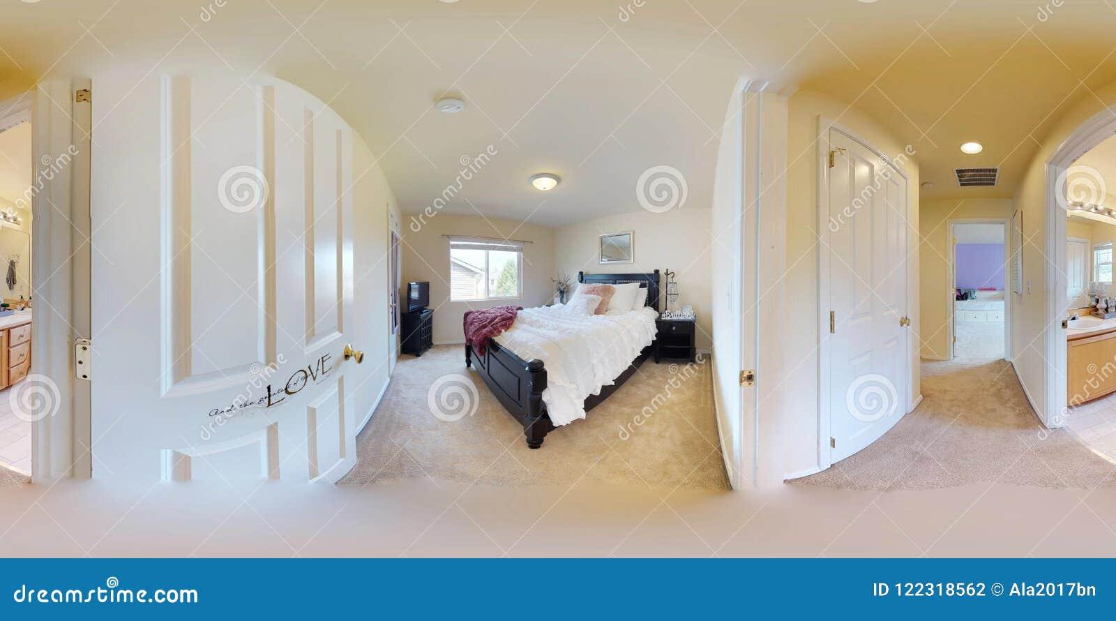 Kugelförmige 360 Grad der Illustration 3d, ein nahtloses Panorama des Schlafzimmers mit Königgrößenbett