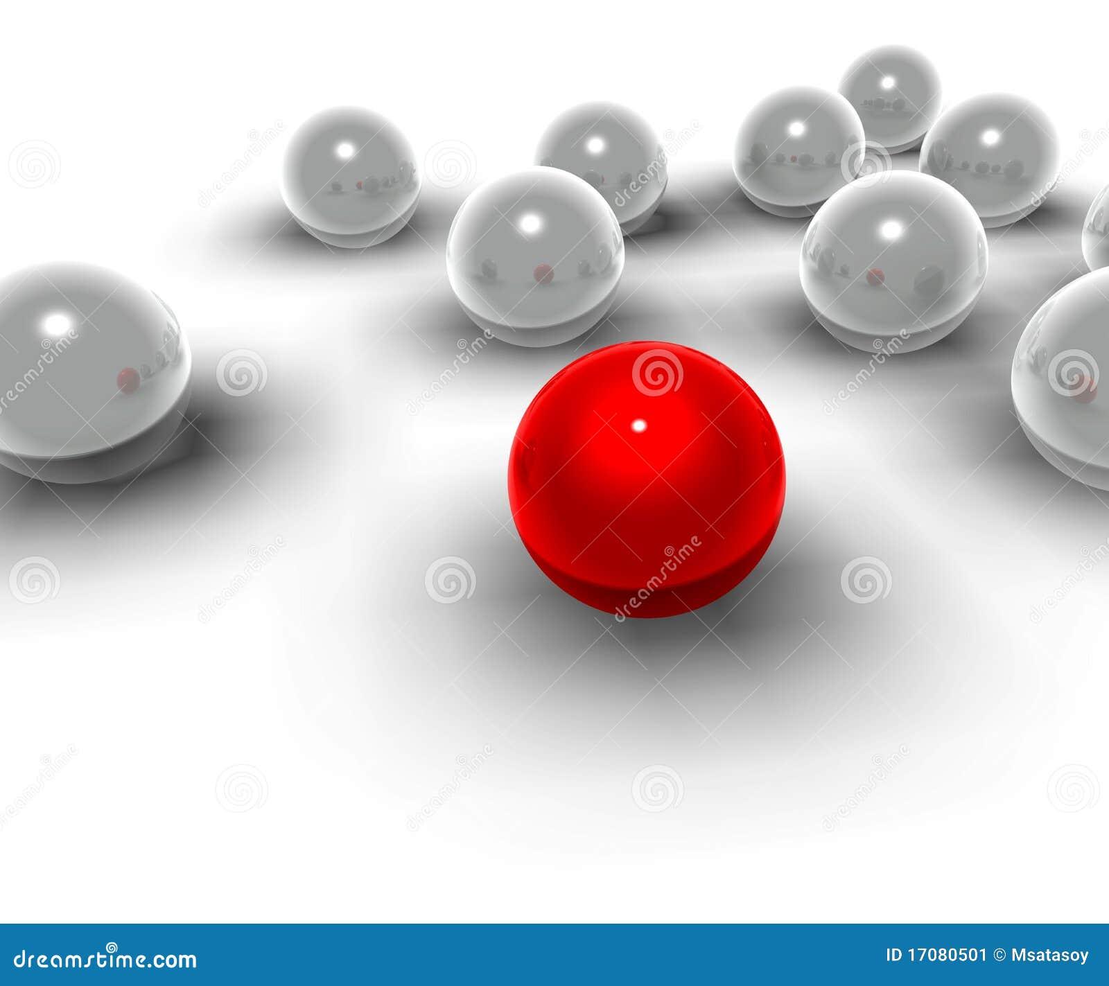 Kugeln 3d und rote Kugeln von unterschiedlichem