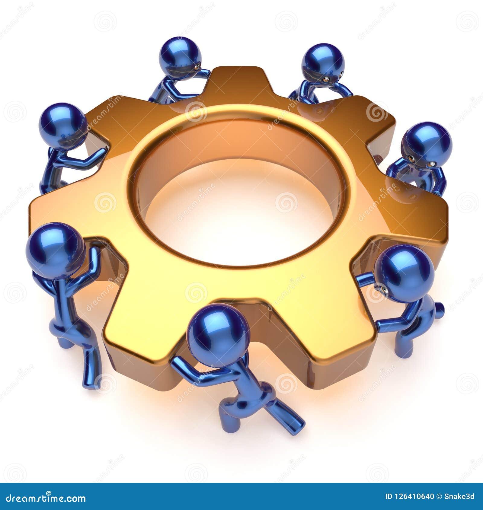 Kugghjul för arbetare för arbete för lag för teamworkaffärsprocess roterande