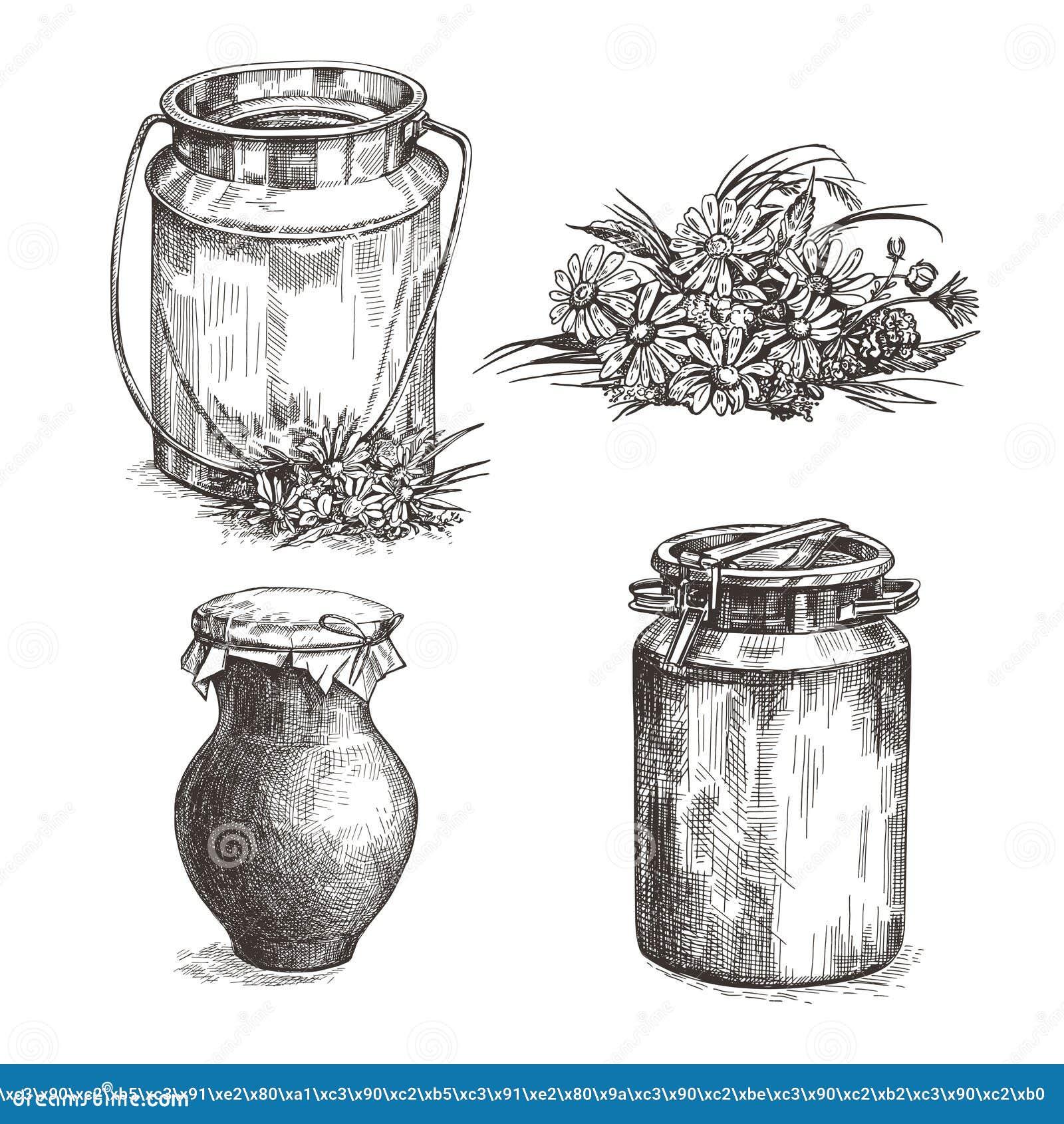 Kuh, Milchdose, Töpferwarenkrug und Wildflowers Stellen Sie von den Skizzenillustrationen ein